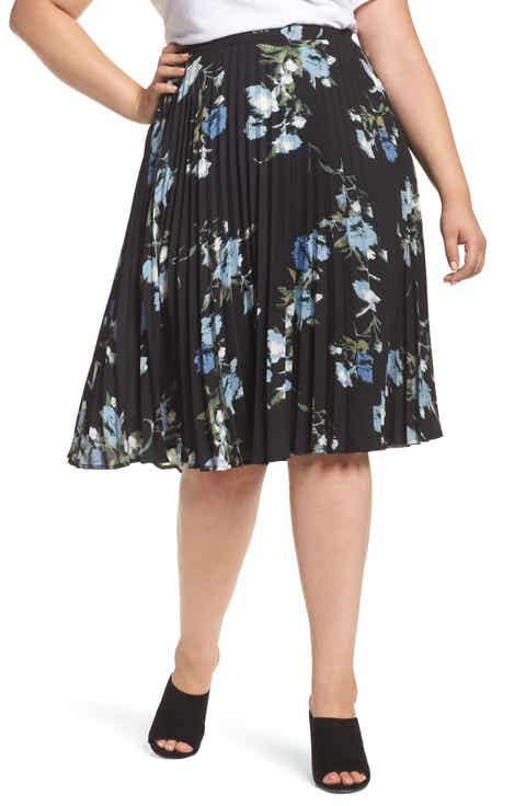 Vince Camuto Windswept Bouquet Pleated Skirt (Plus Size) Top Reviews