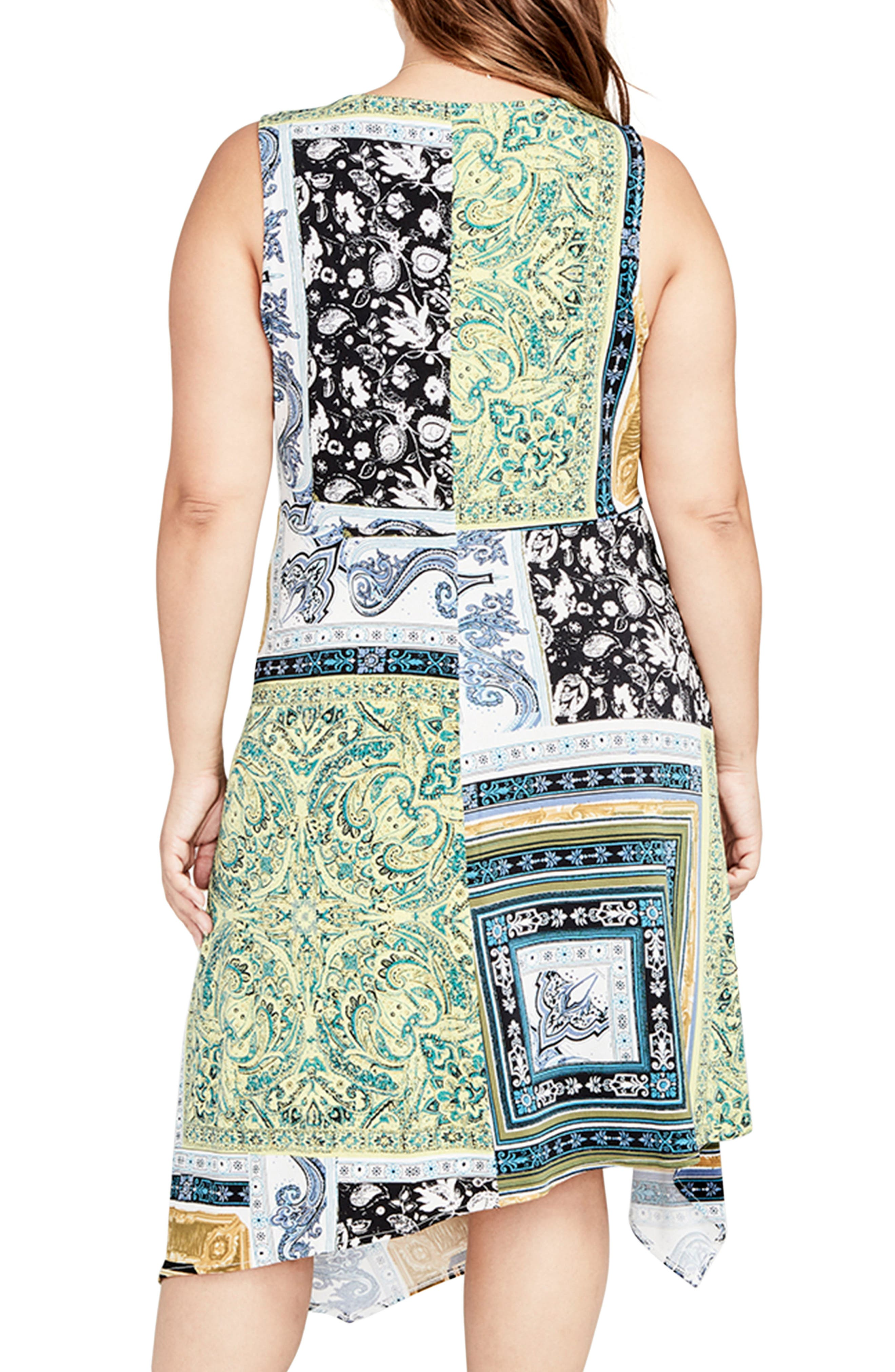 Scarf Print Handkerchief Hem Dress,                             Alternate thumbnail 2, color,                             Citron Combo