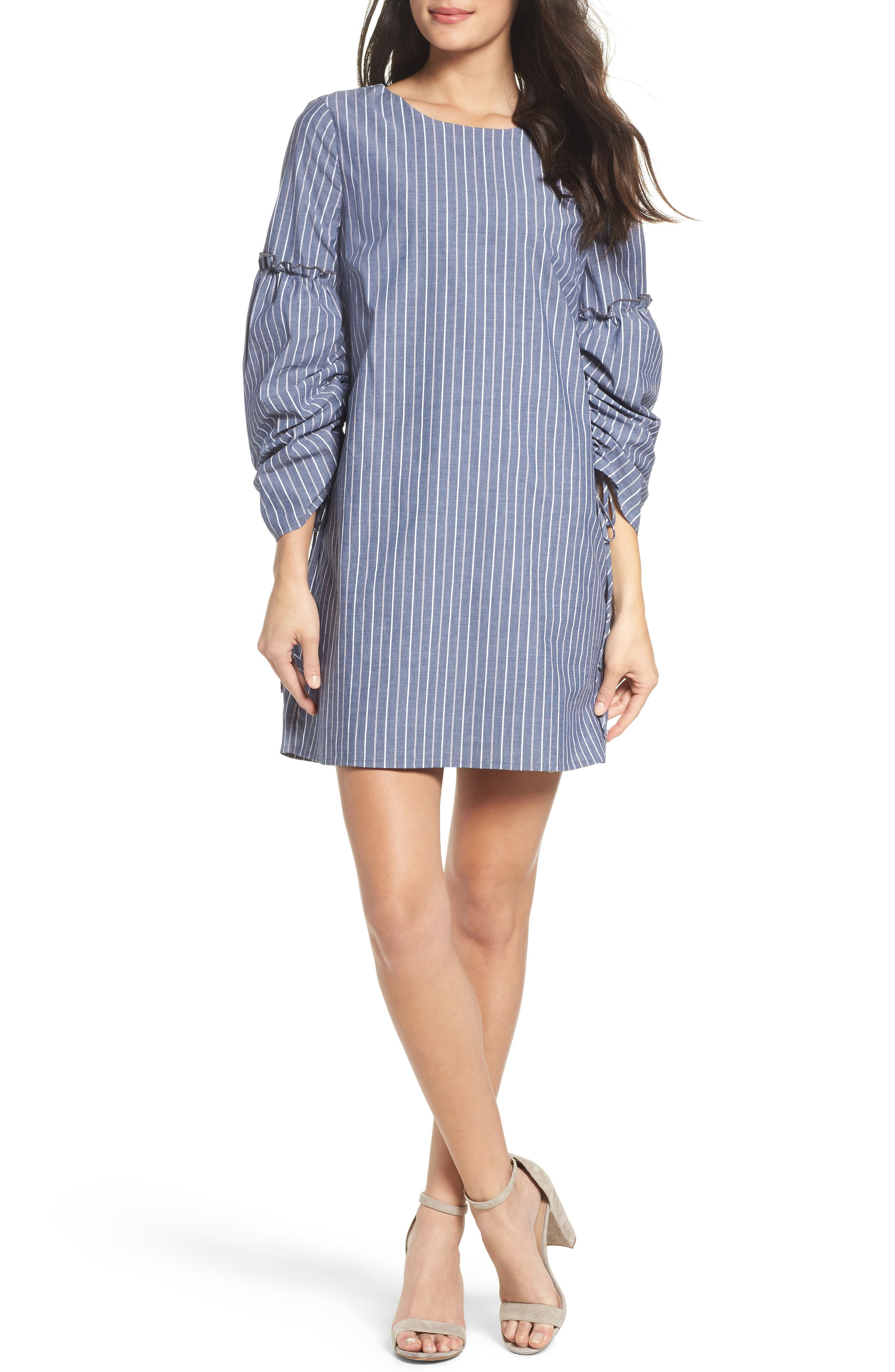 Ruched Sleeve Poplin Shift Dress,                         Main,                         color, Navy Stripe