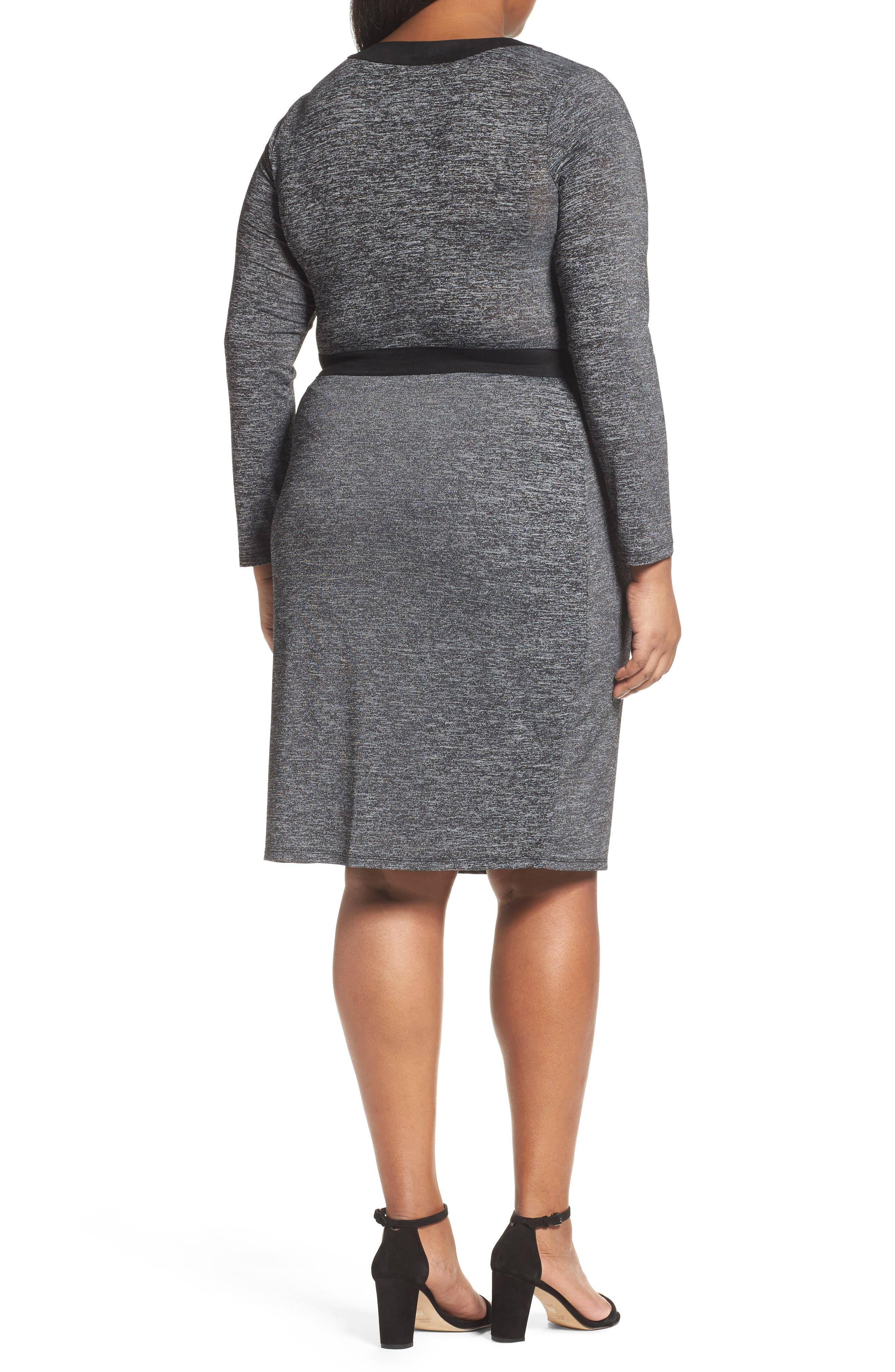 Alternate Image 2  - Adrianna Papell Knit Faux Wrap Dress (Plus Size)
