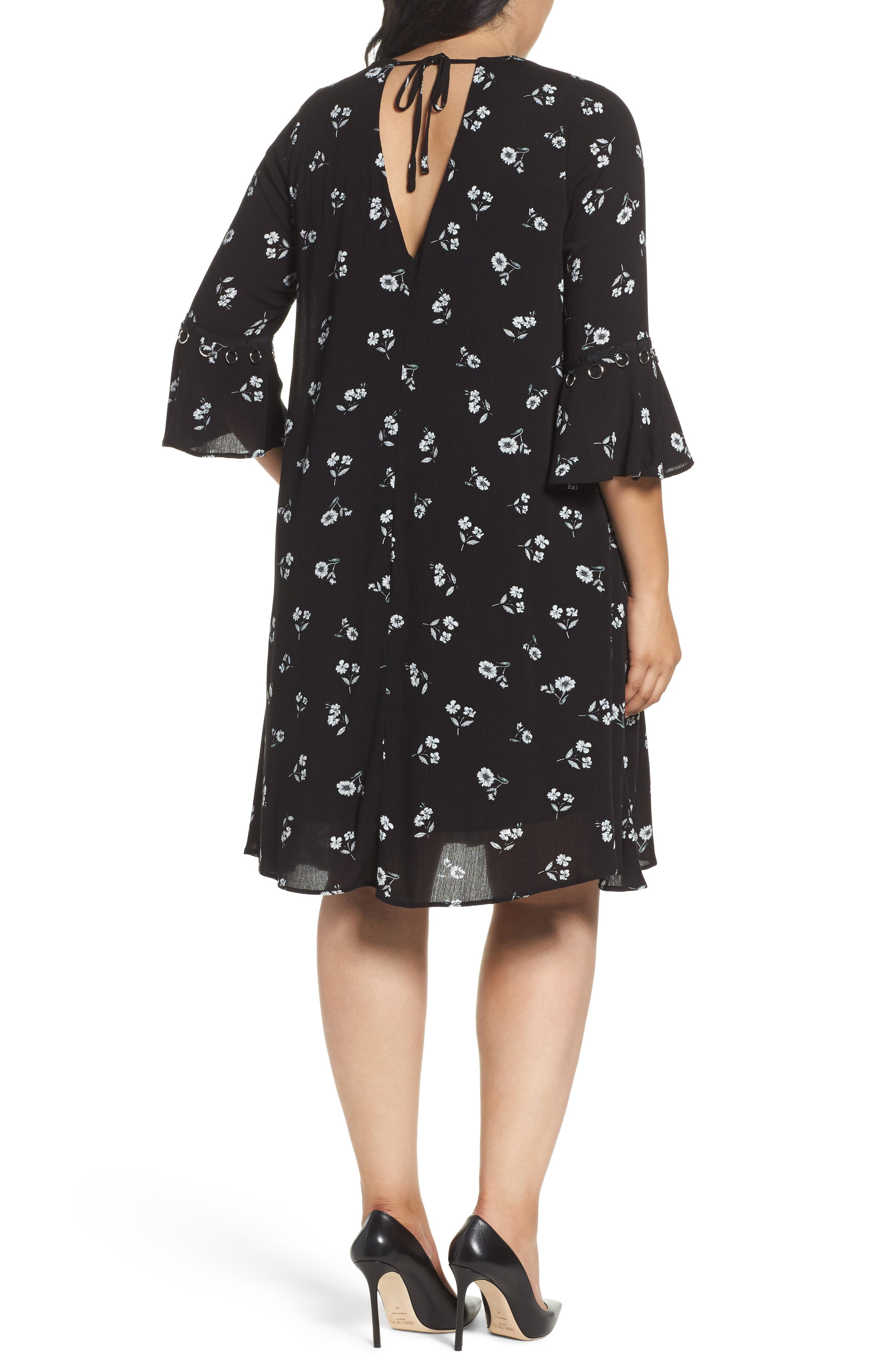 Alternate Image 2  - Glamorous Bell Sleeve Floral Shift Dress (Plus Size)