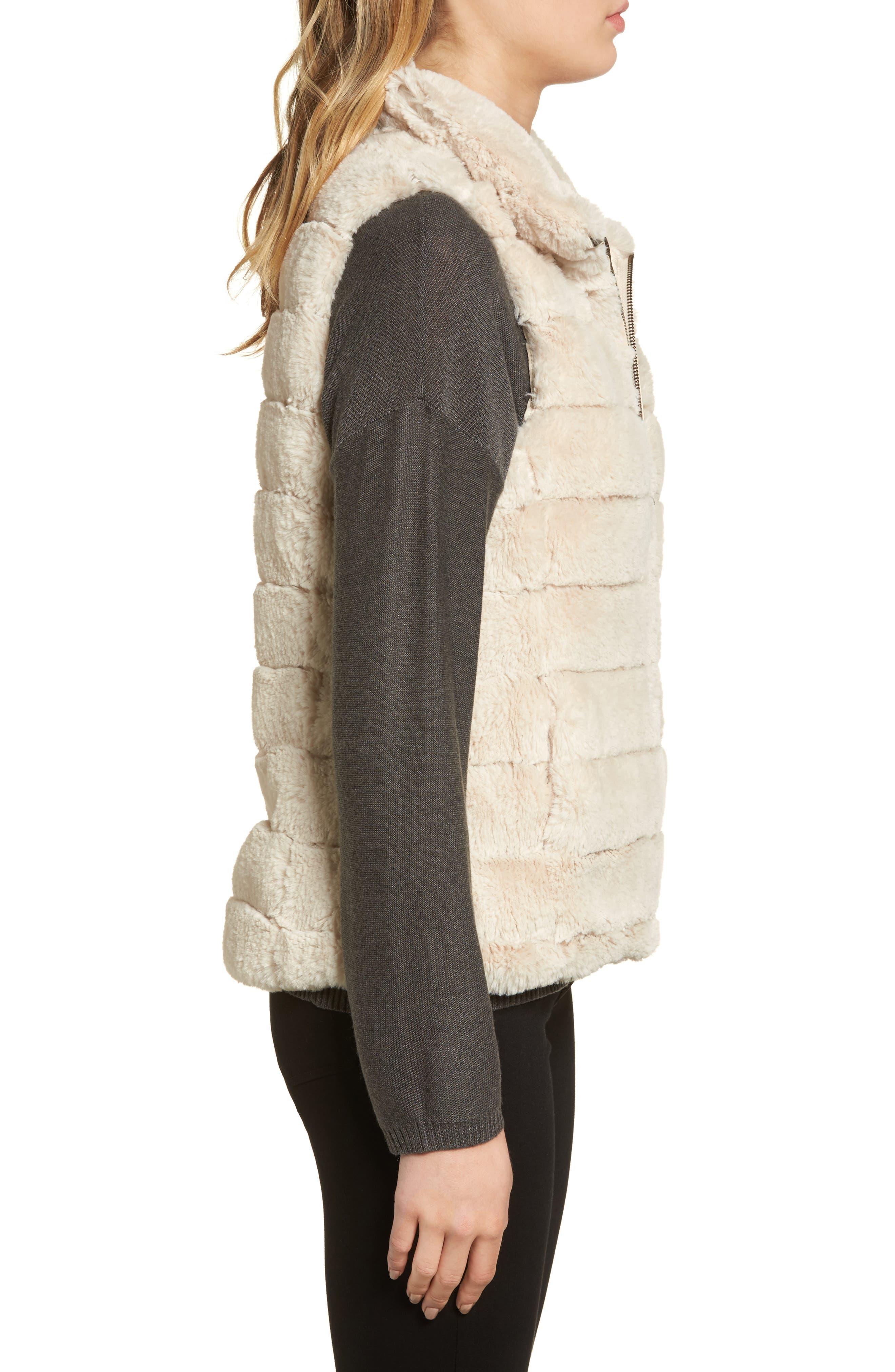 Love Faux Fur Vest,                             Alternate thumbnail 3, color,                             Ivory