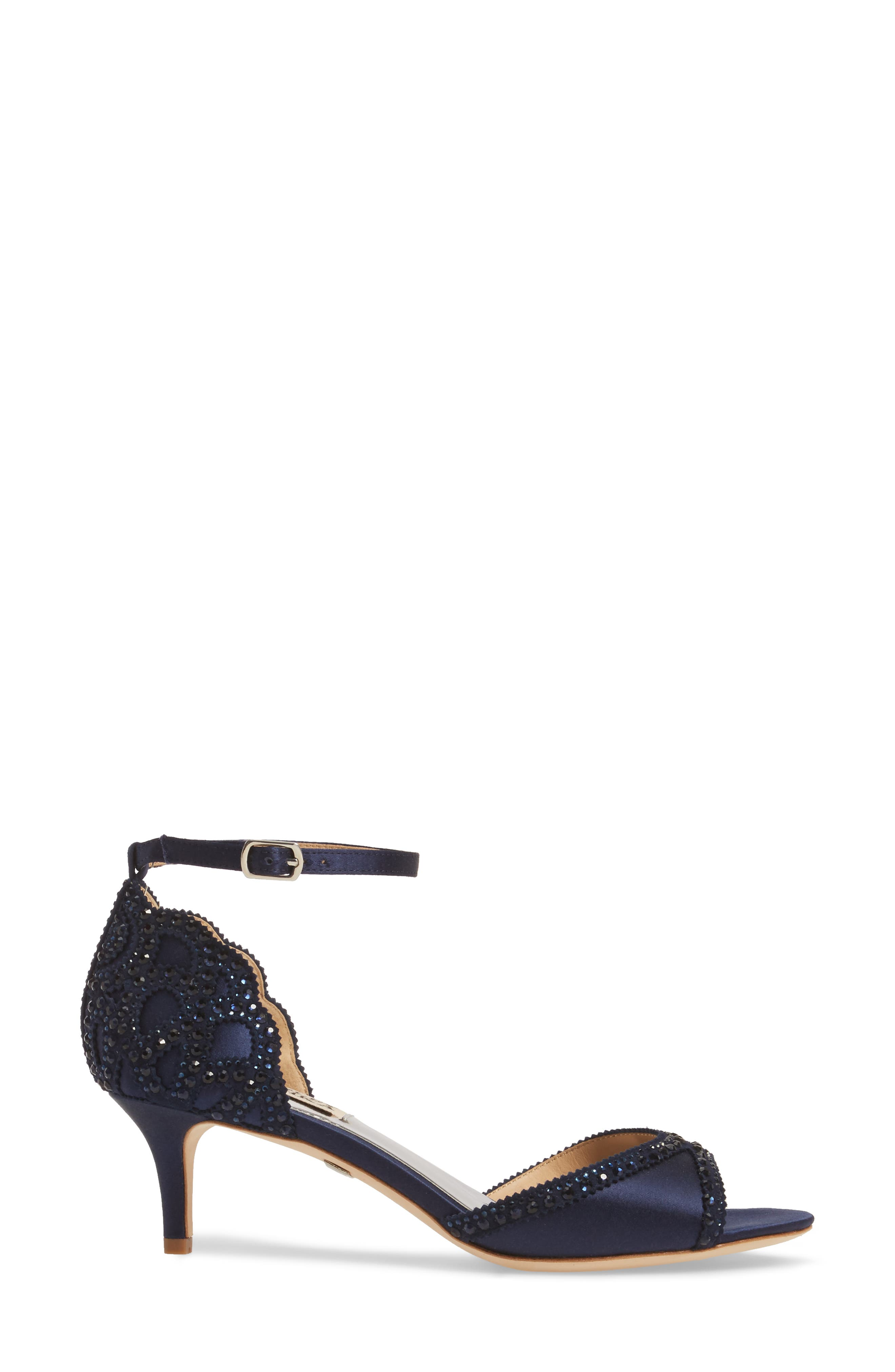 'Gillian' Crystal Embellished d'Orsay Sandal,                             Alternate thumbnail 3, color,                             Midnight Blue Satin