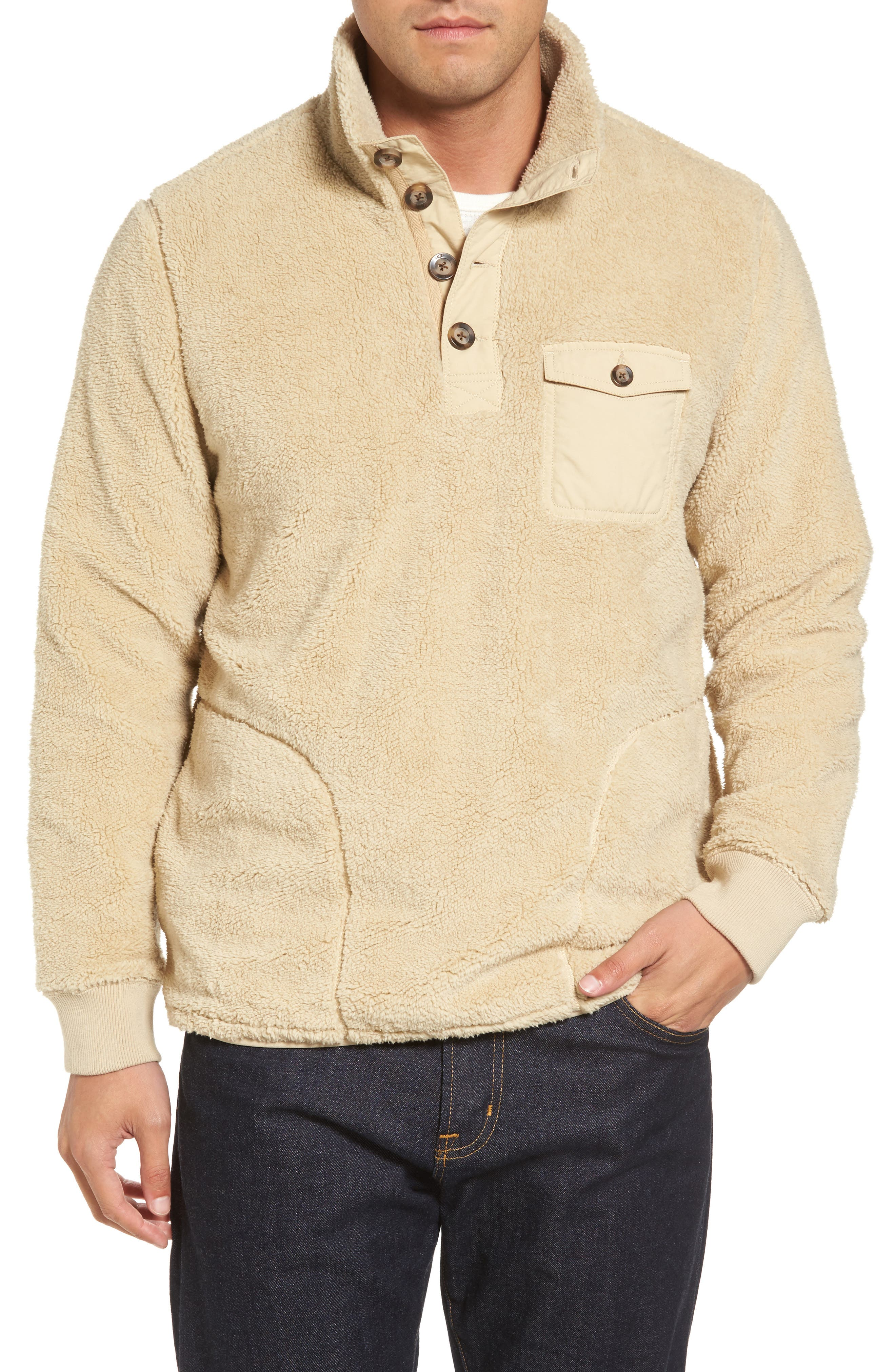 Fuzzy Faux Shearling Pullover,                         Main,                         color, Sand