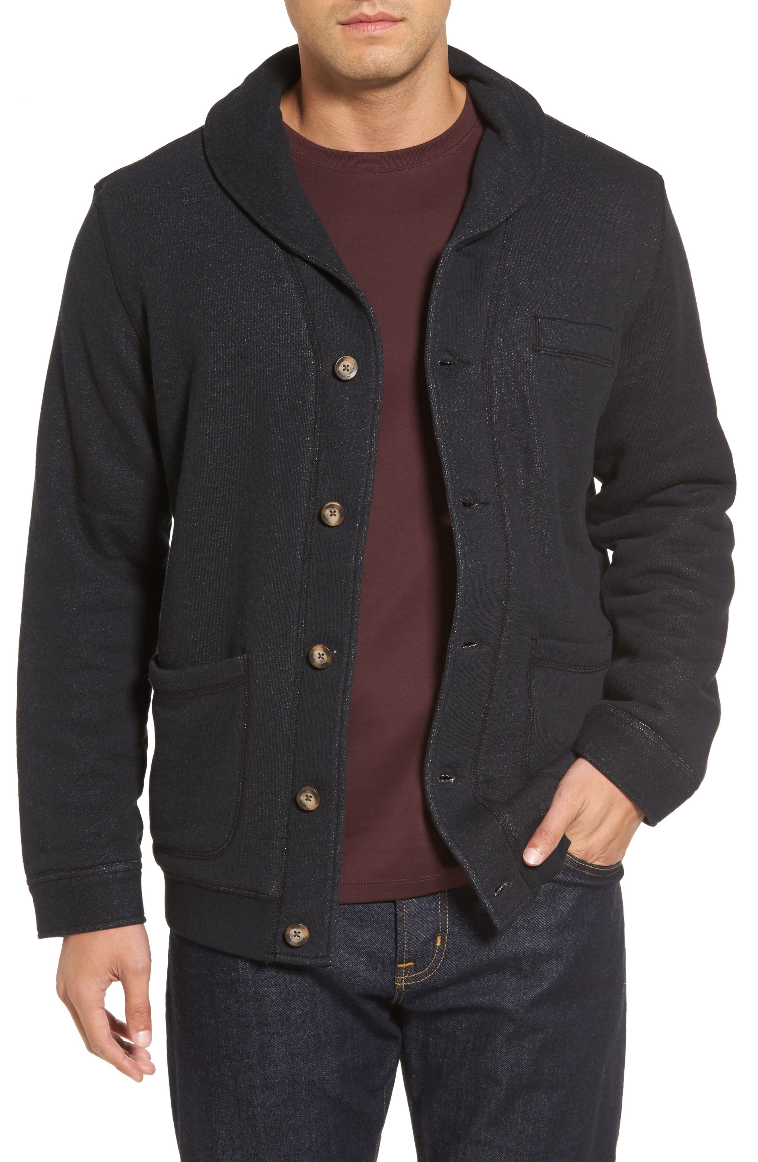 Faux Shearling Lined Shawl Collar Cardigan,                         Main,                         color, Black