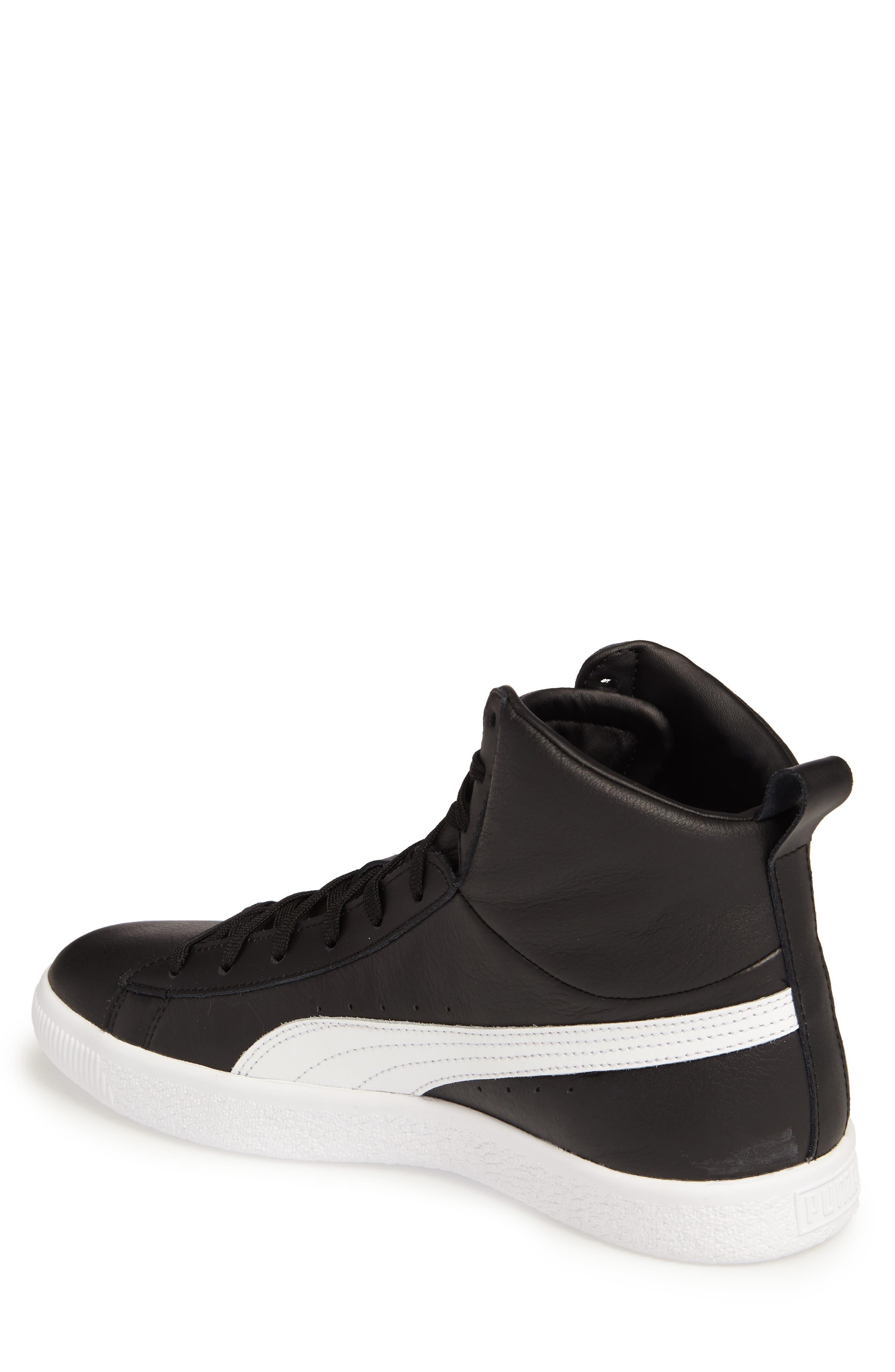 Clyde Mid Sneaker,                             Alternate thumbnail 2, color,                             Black/ White
