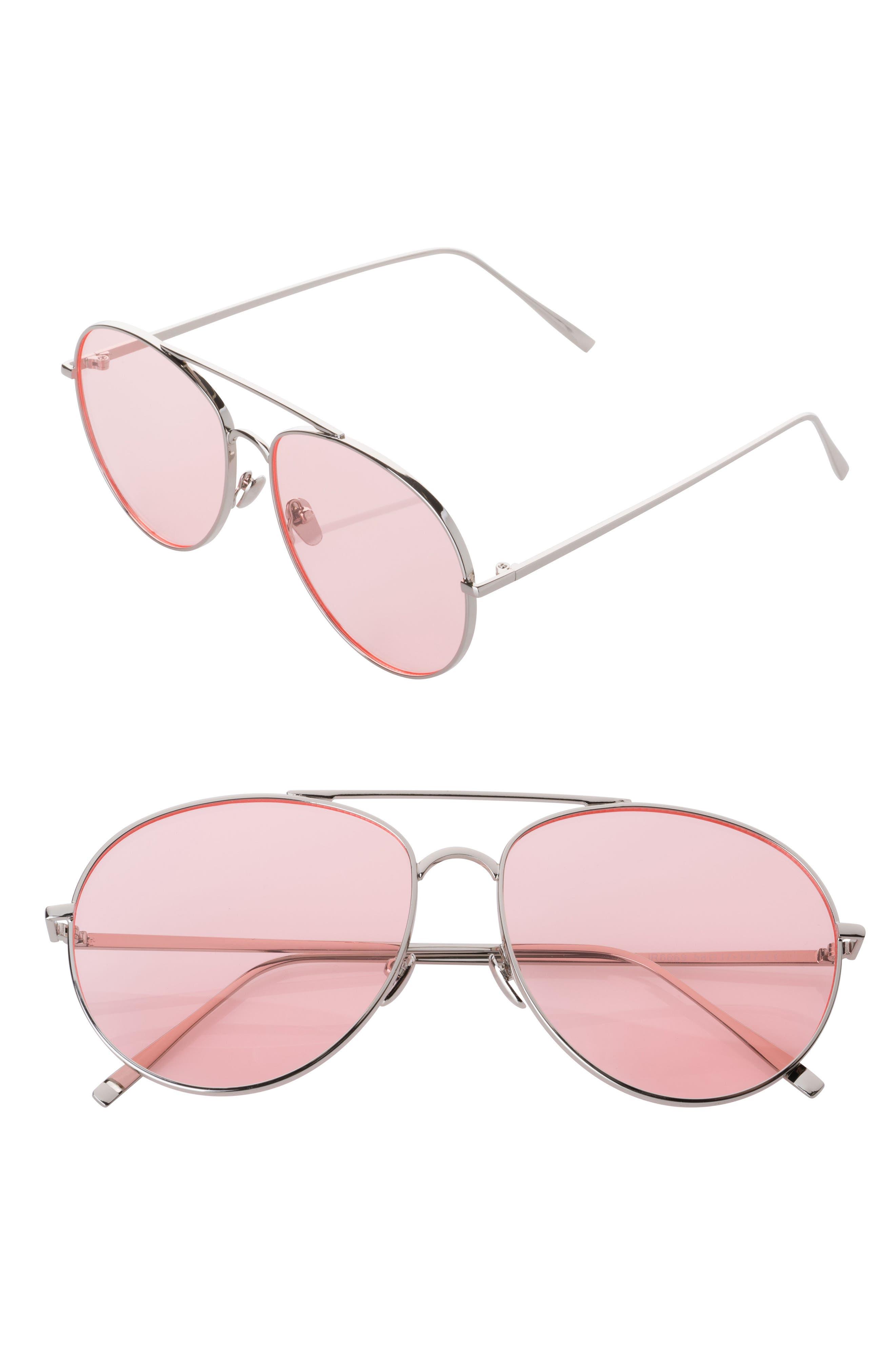 58mm Aviator Sunglasses,                         Main,                         color, Pink/ Silver