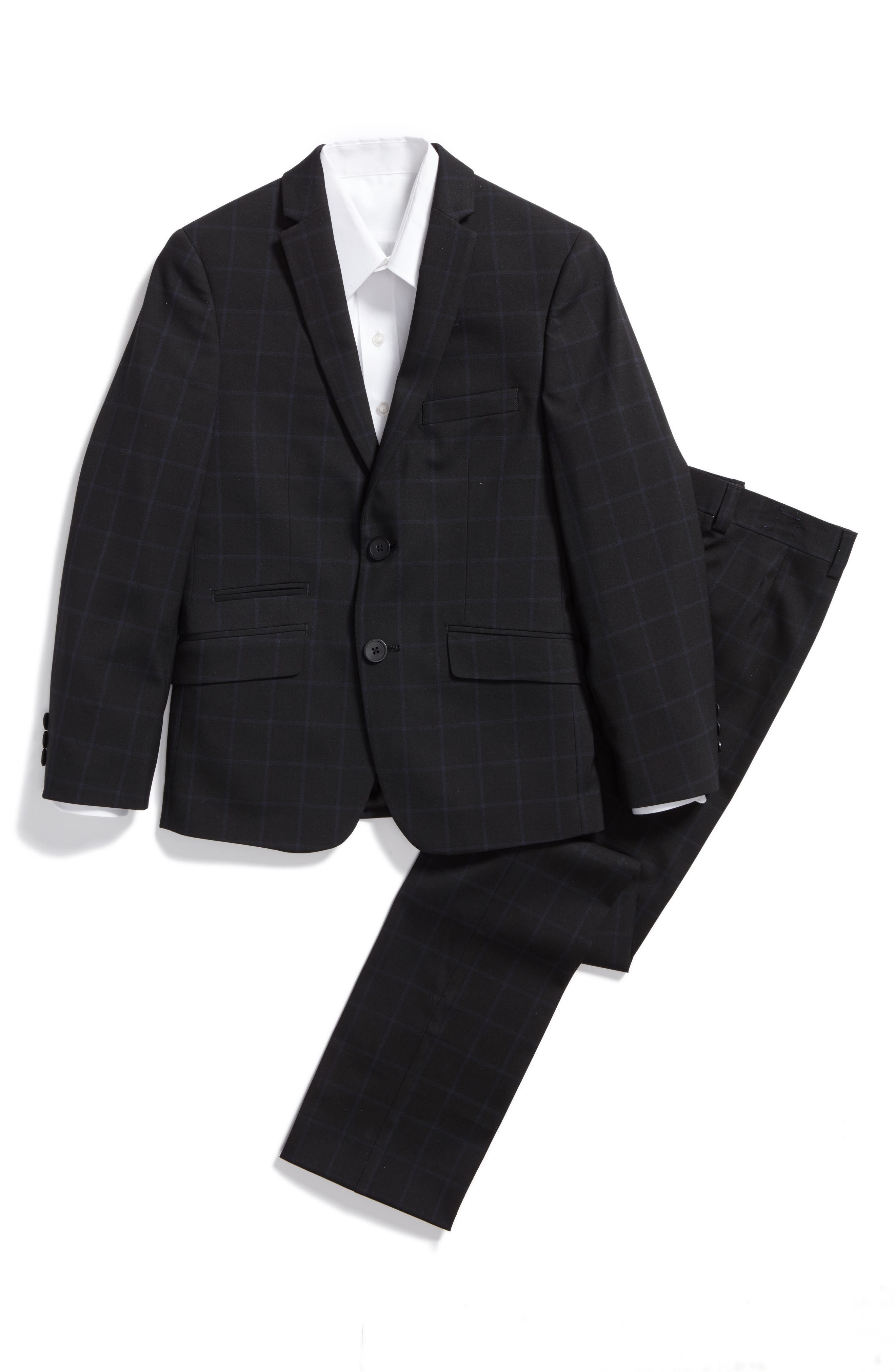Main Image - Andrew Marc Windowpane Suit (Big Boys)