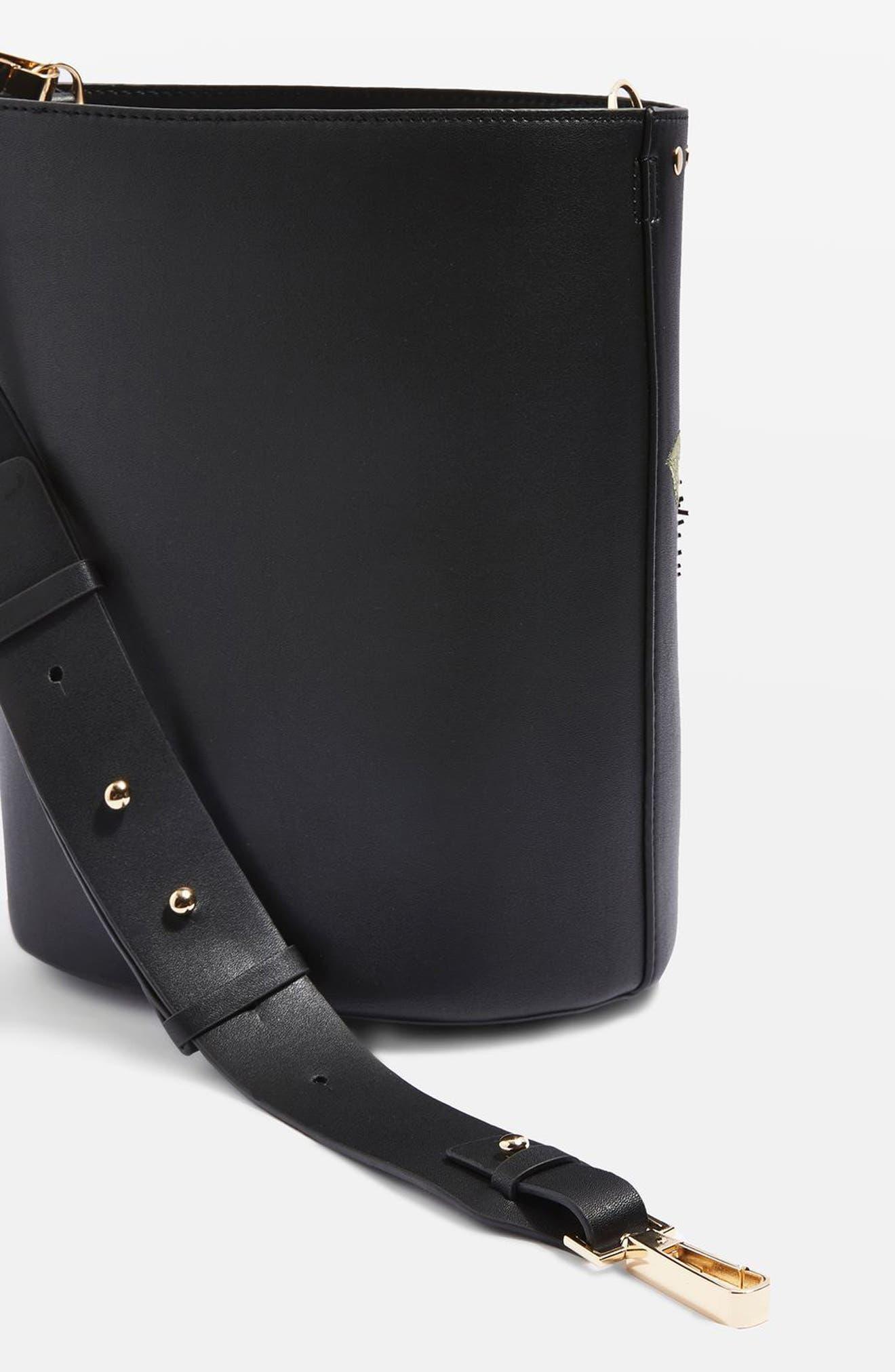 Alternate Image 7  - Topshop Sadie Floral Faux Leather Bucket Bag