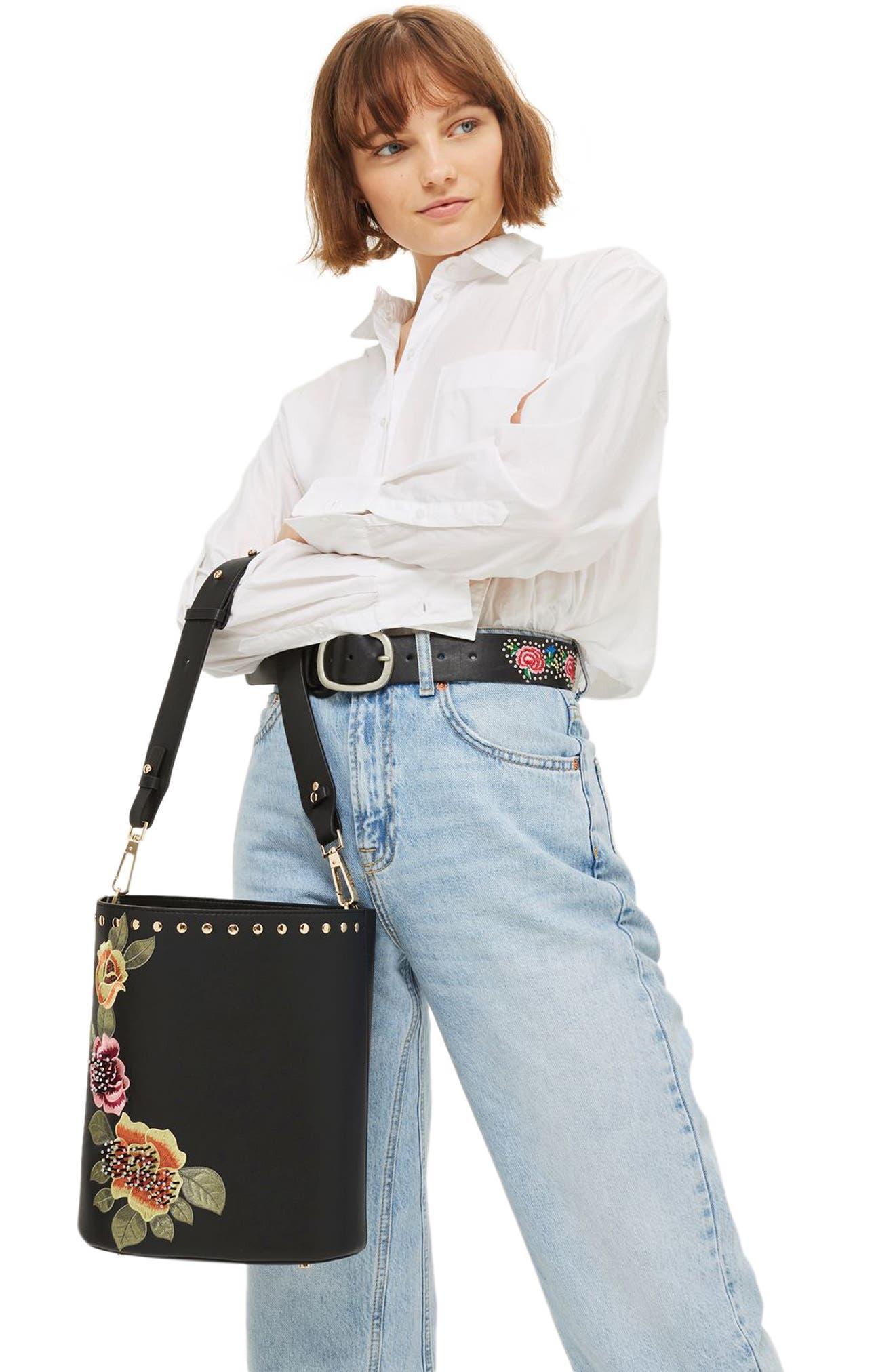 Alternate Image 2  - Topshop Sadie Floral Faux Leather Bucket Bag