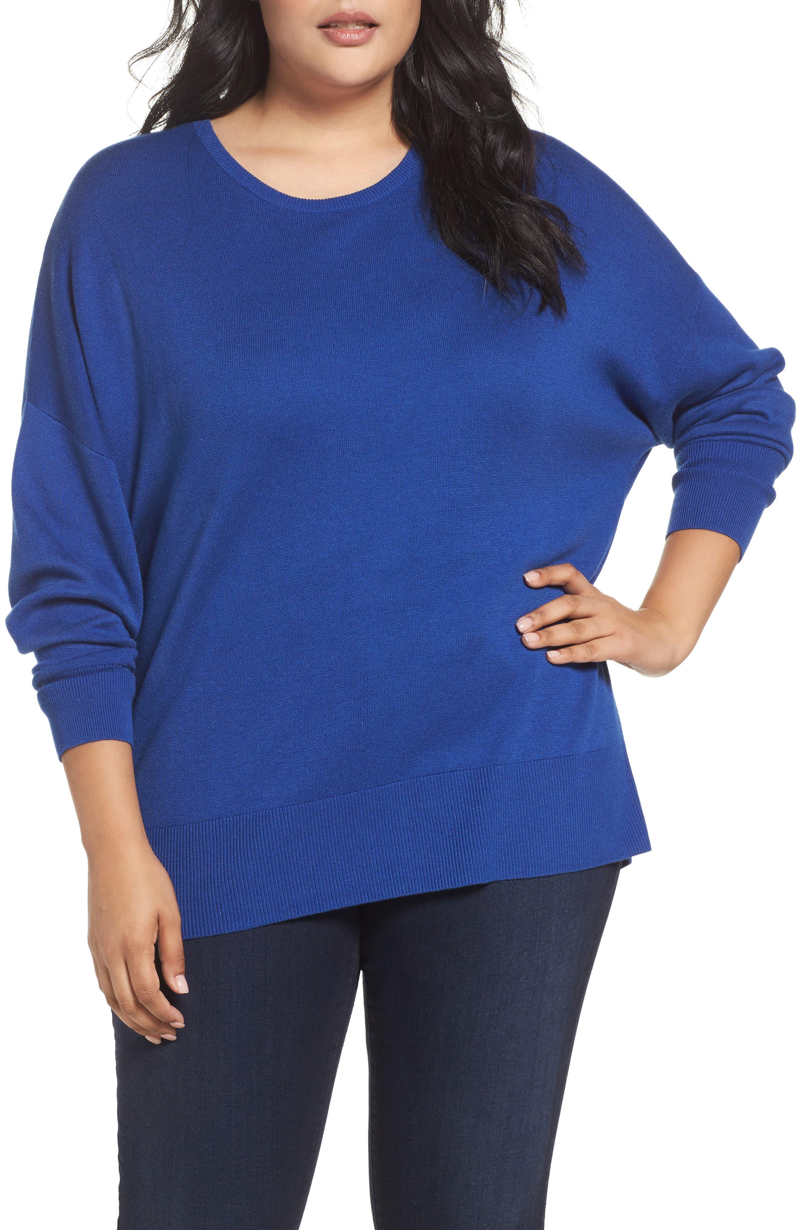 Dolman Sleeve Crewneck Sweater,                             Main thumbnail 1, color,                             Blue Mazarine