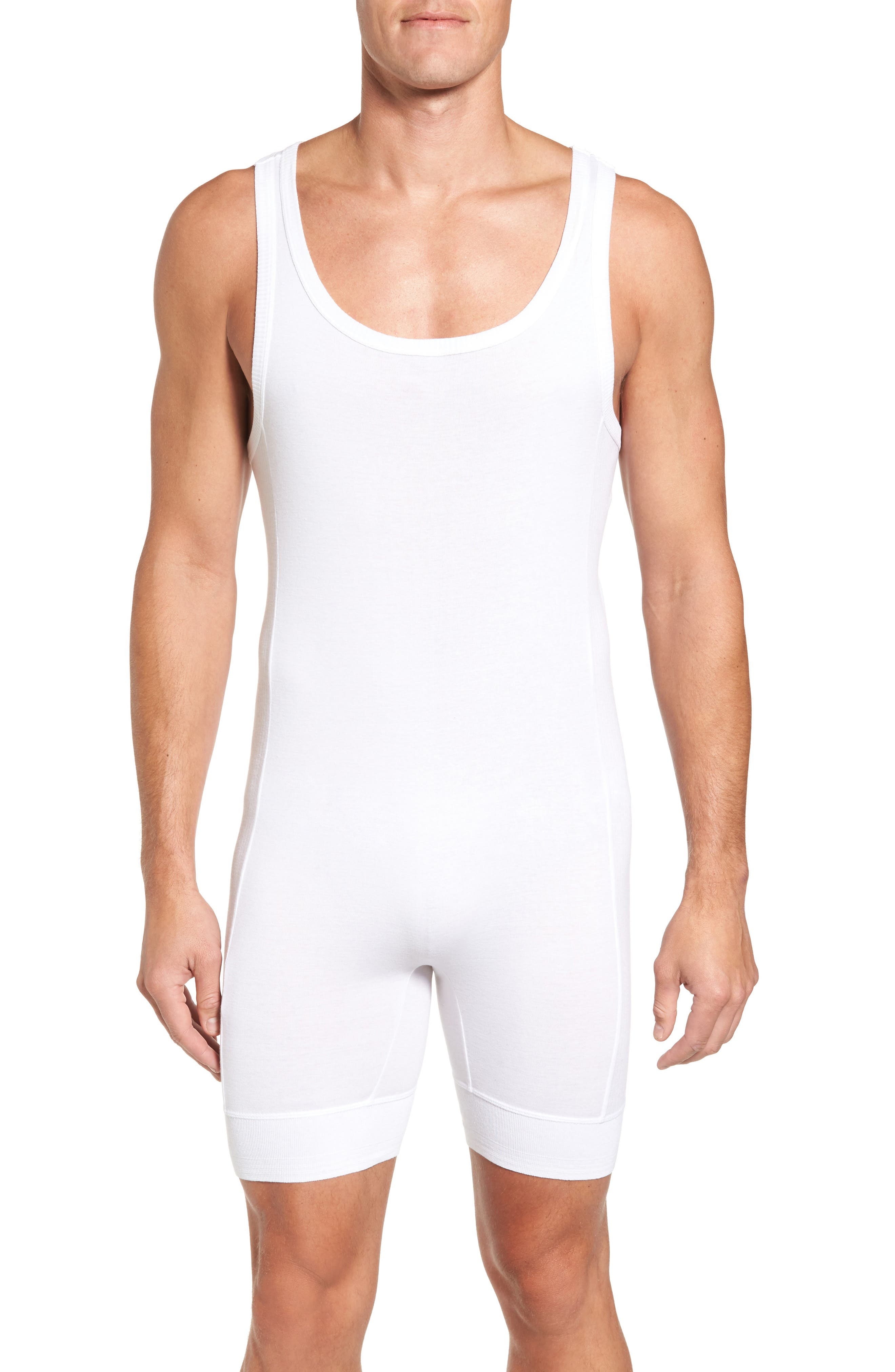 Ribbed Singlet,                         Main,                         color, White