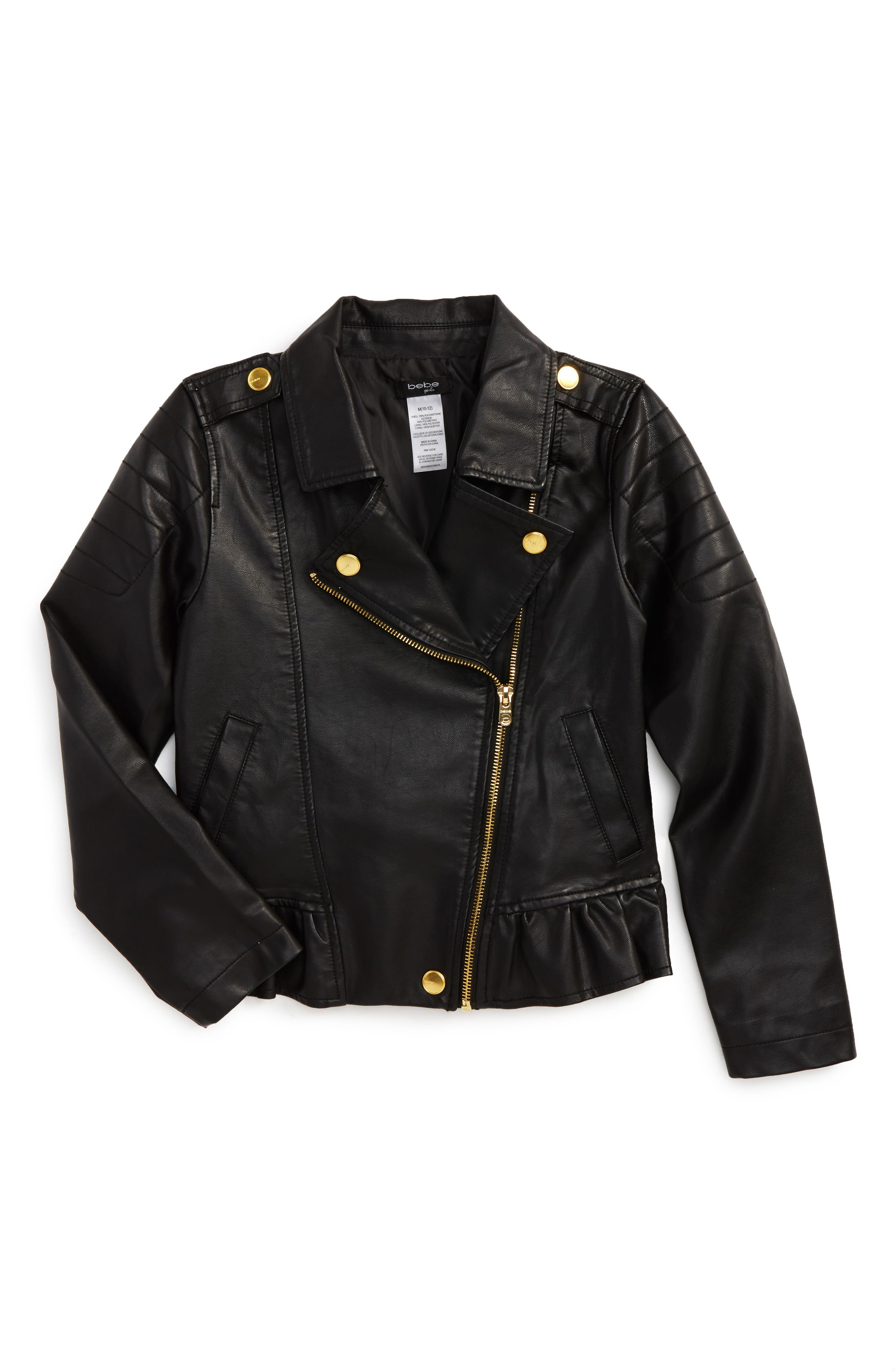 Alternate Image 1 Selected - bebe Faux Leather Moto Jacket (Big Girls)