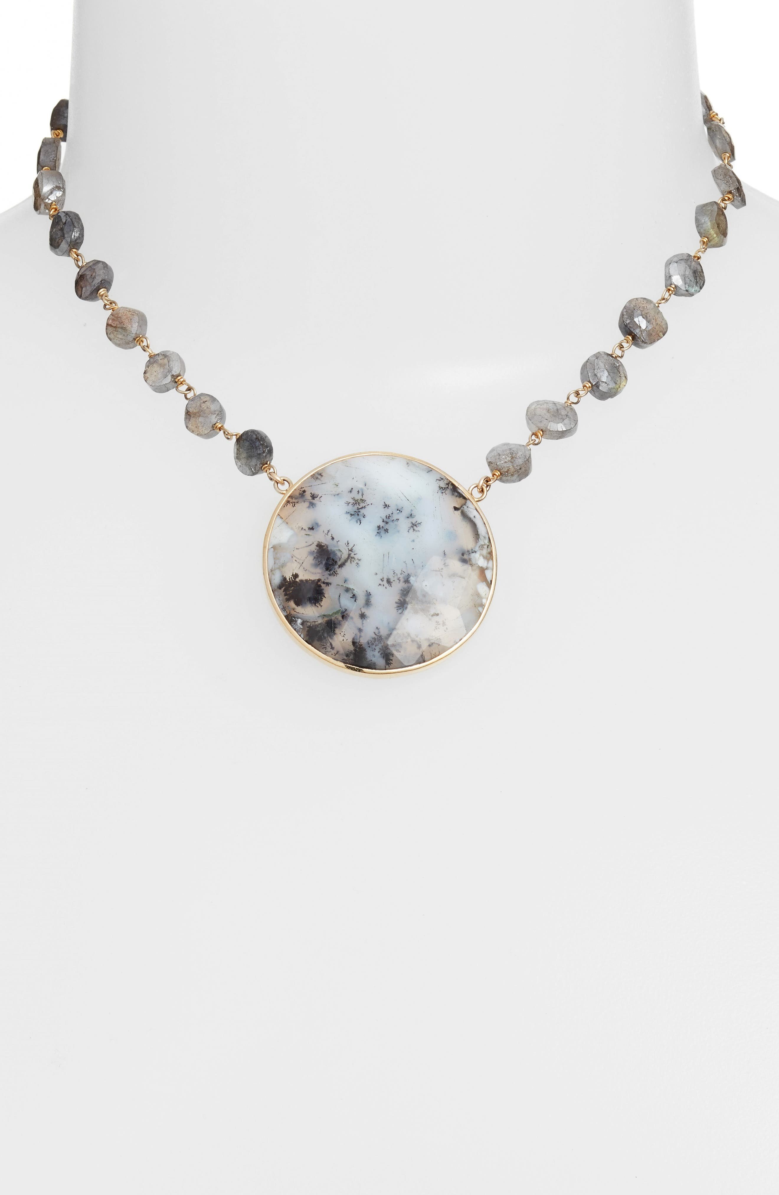 Morah Semiprecious Stone Necklace,                             Alternate thumbnail 2, color,                             Mystic Labradorite/Opal