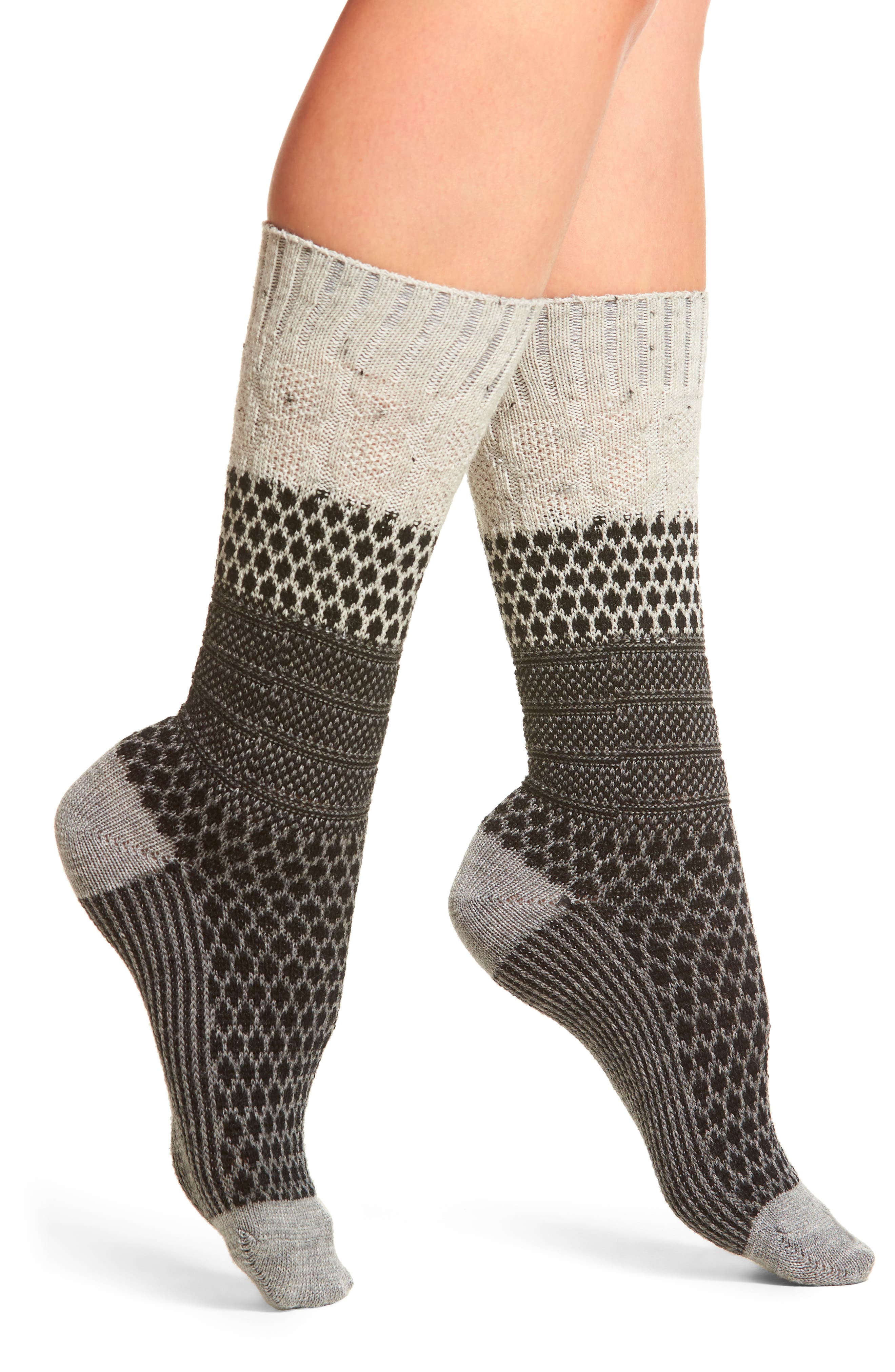 Popcorn Cable Crew Socks,                         Main,                         color, Winter White Donegal