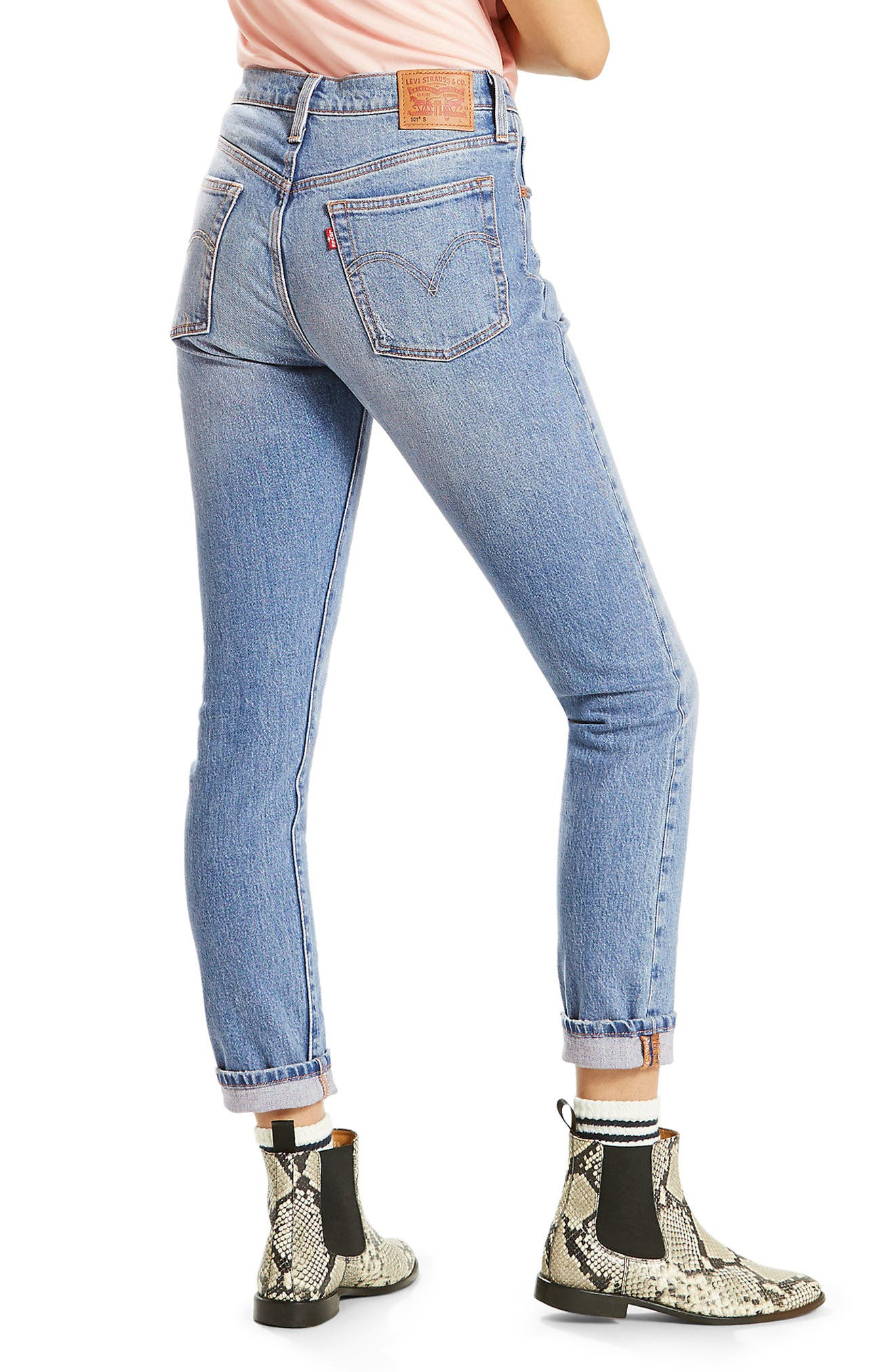 501 High Waist Skinny Jeans,                             Alternate thumbnail 2, color,                             Post Modern Blues