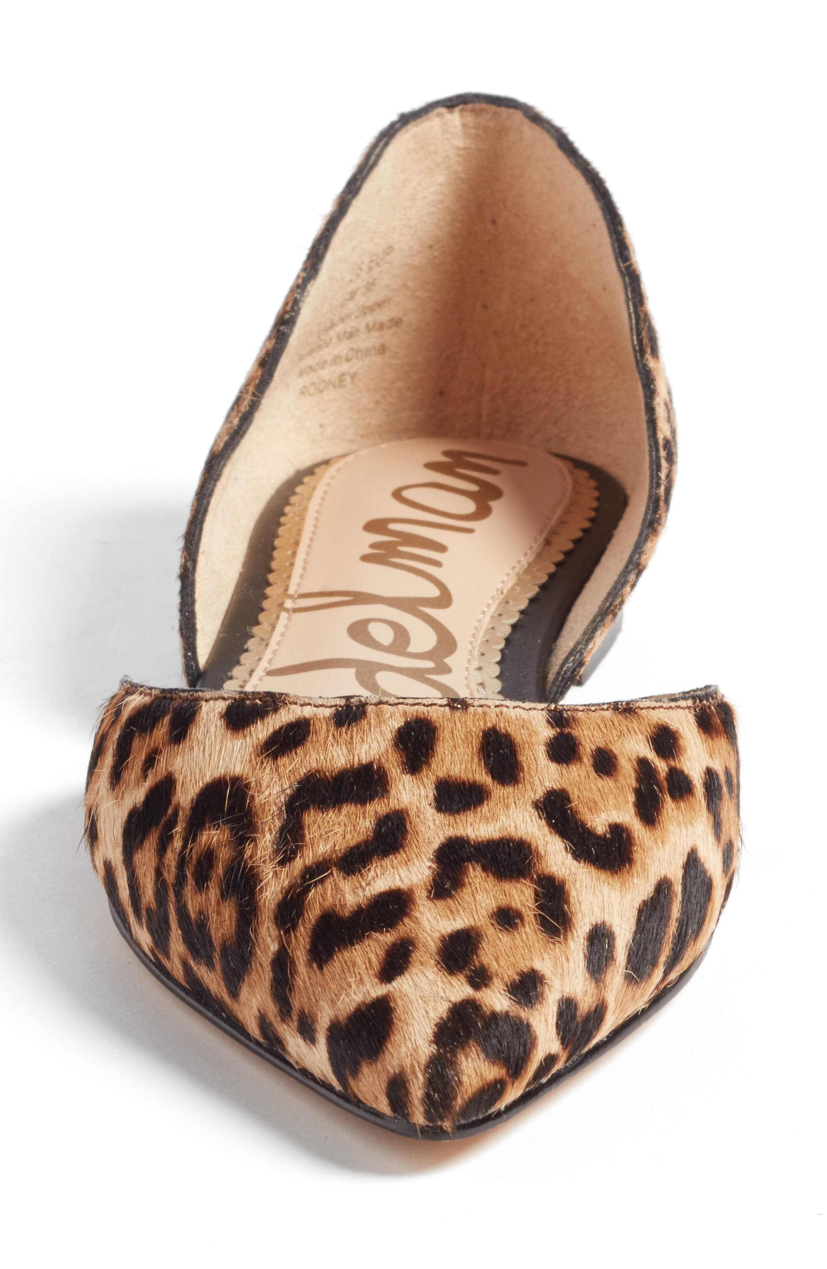 Rodney Pointy Toe Genuine Calf Hair Flat,                             Alternate thumbnail 4, color,                             Sand Leopard Calf Hair