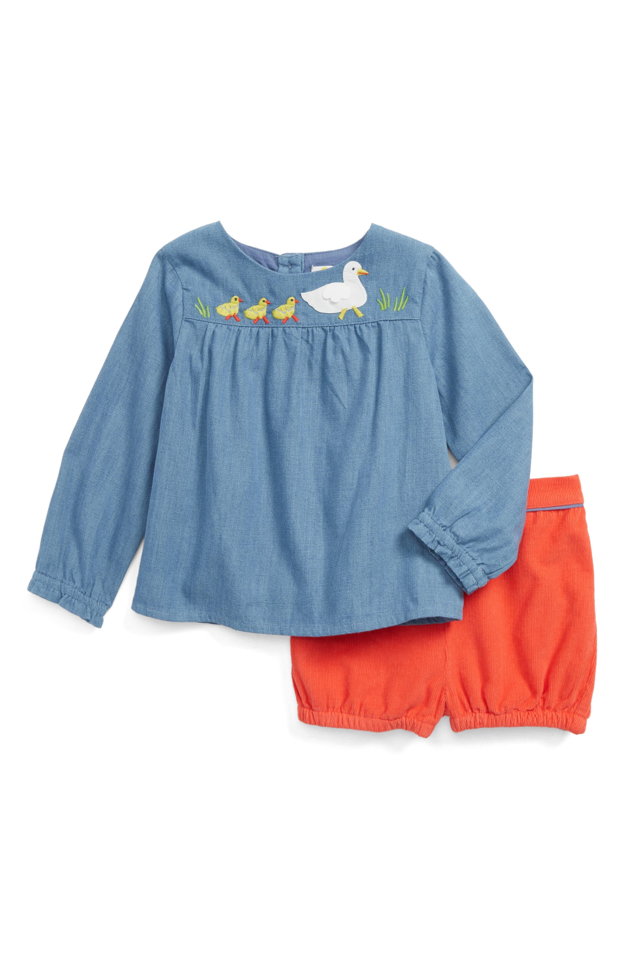 Mini Boden Woodland Top & Shorts Set (Baby Girls & Toddler Girls)