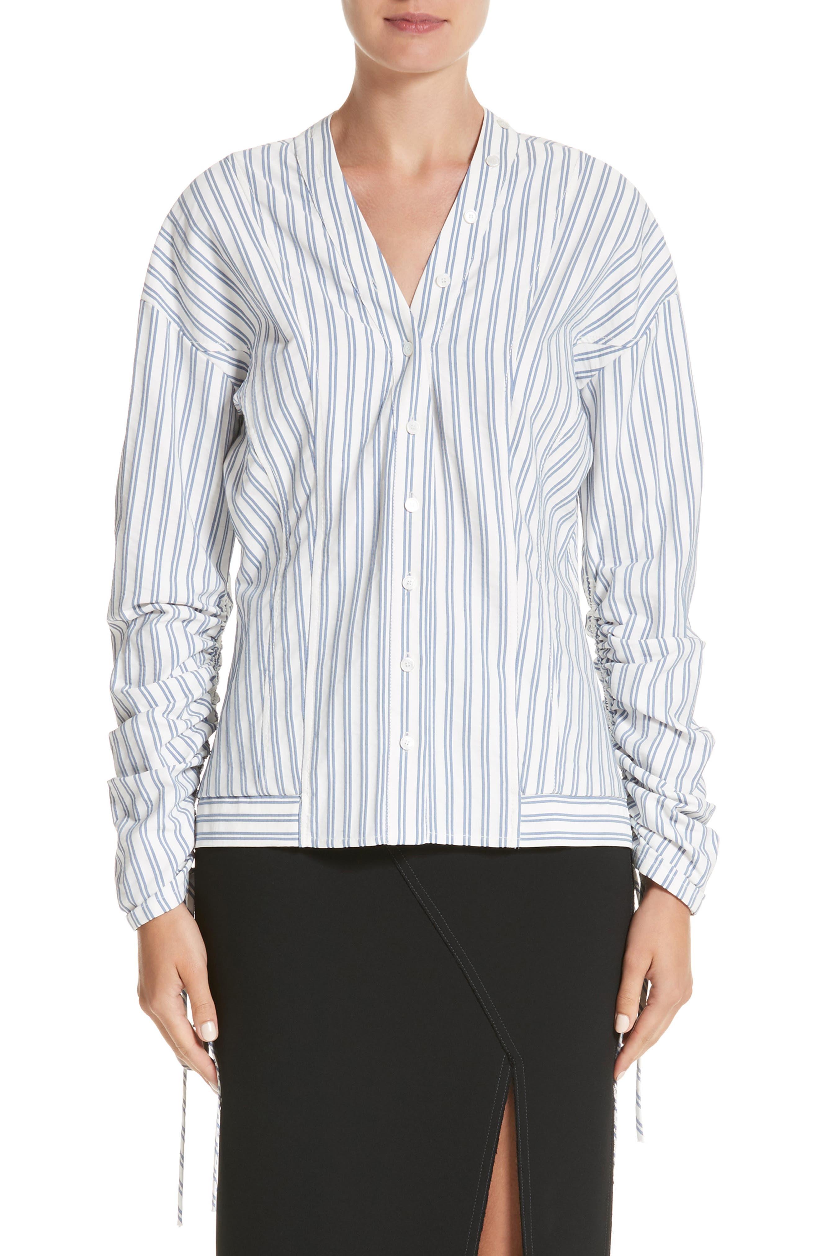 Stripe Cotton Blouse,                             Main thumbnail 1, color,                             Blue / Chalk