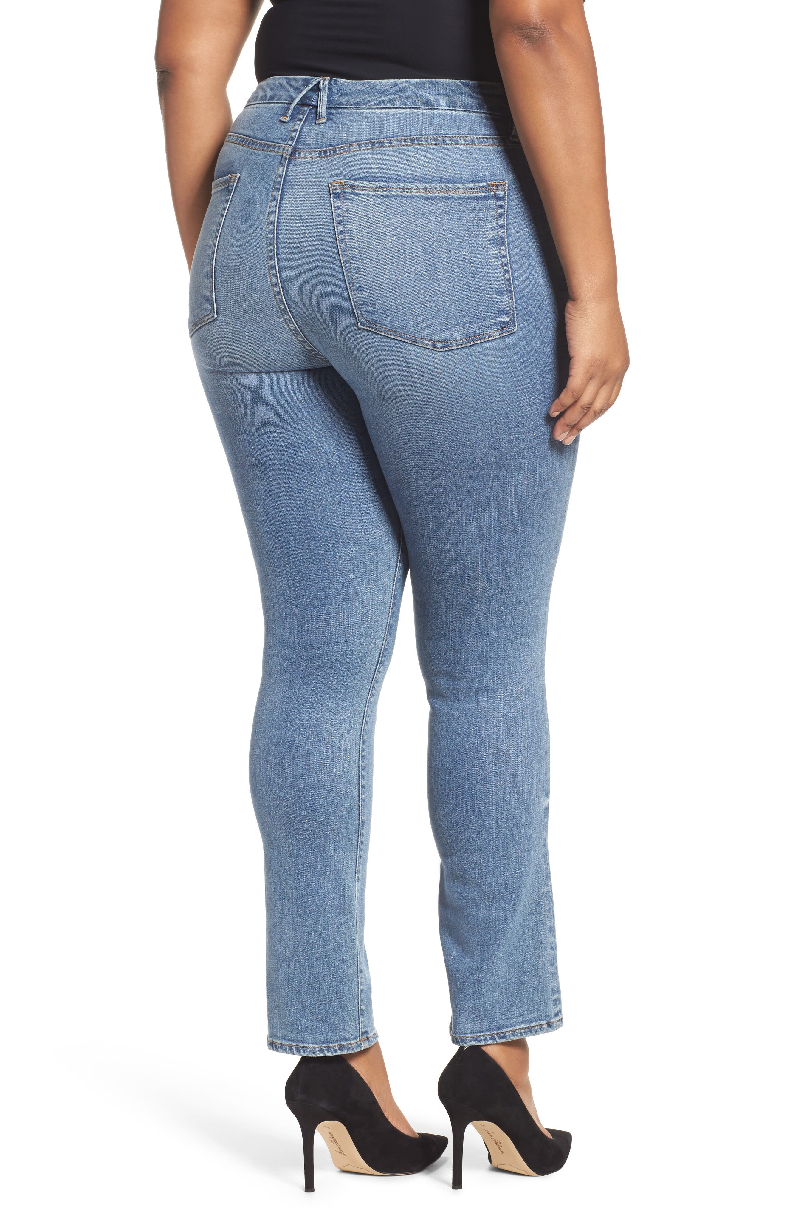 Alternate Image 10  - Good American Good Straight High Rise Jeans (Blue 087) (Extended Sizes)