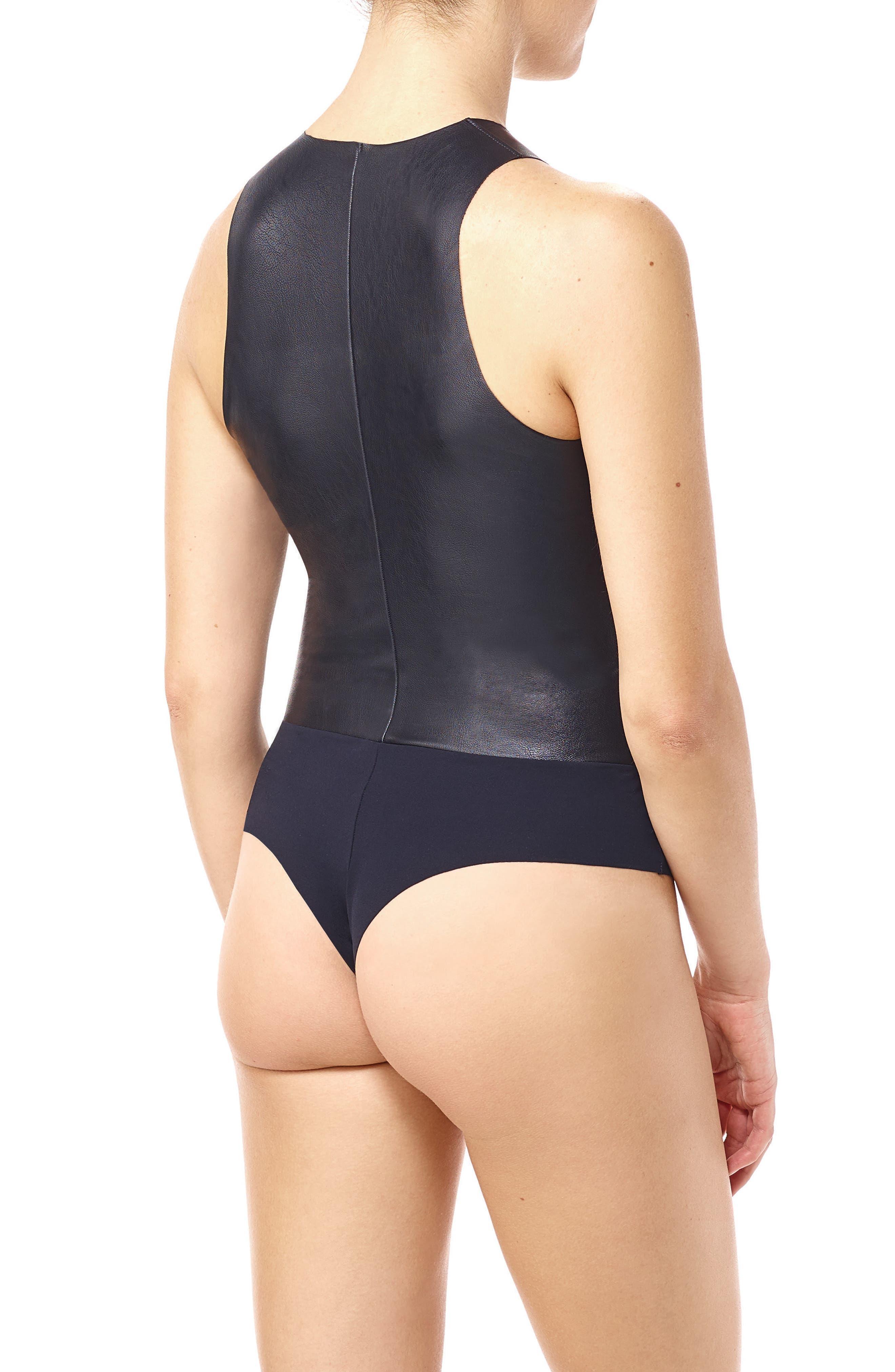 Faux Leather Bodysuit,                             Alternate thumbnail 2, color,                             Black