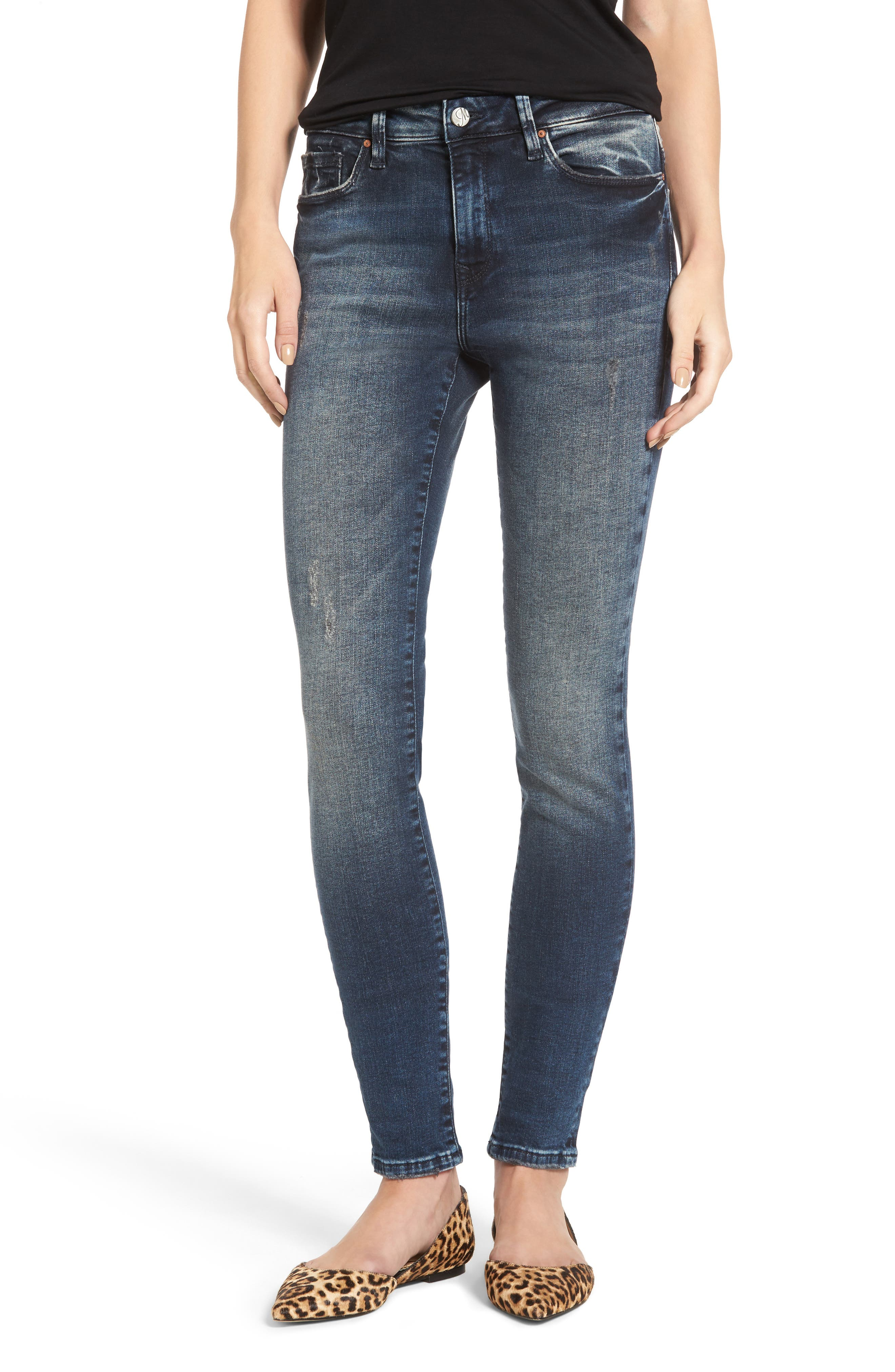 Main Image - Mavi Jeans Stretch Slim High Rise Ankle Jeans (Ink Blue Tribeca)