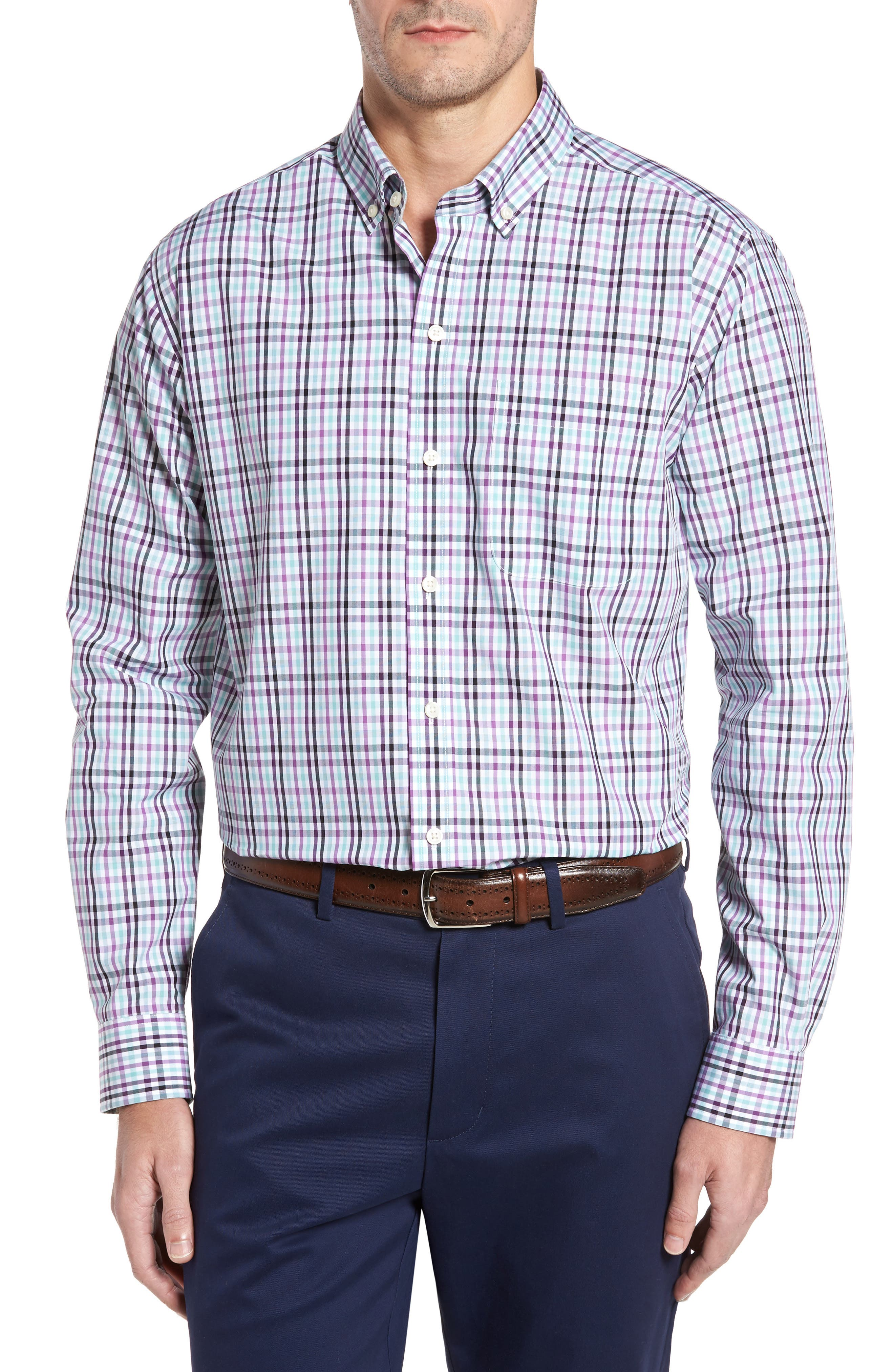 Irving Non-Iron Plaid Sport Shirt,                         Main,                         color, Majesty
