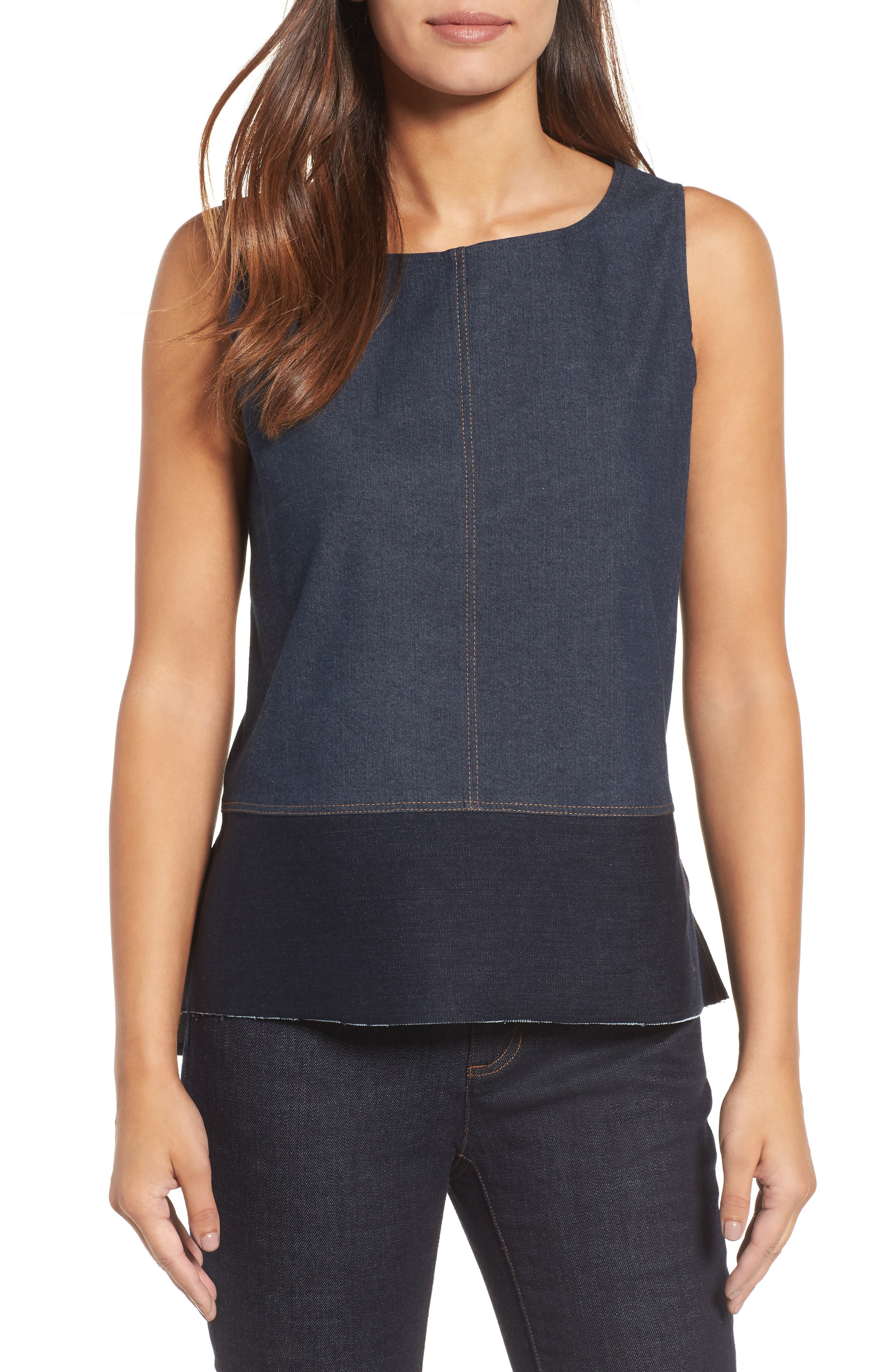 Alternate Image 1 Selected - Eilen Fisher Denim Shell (Nordstrom Exclusive)