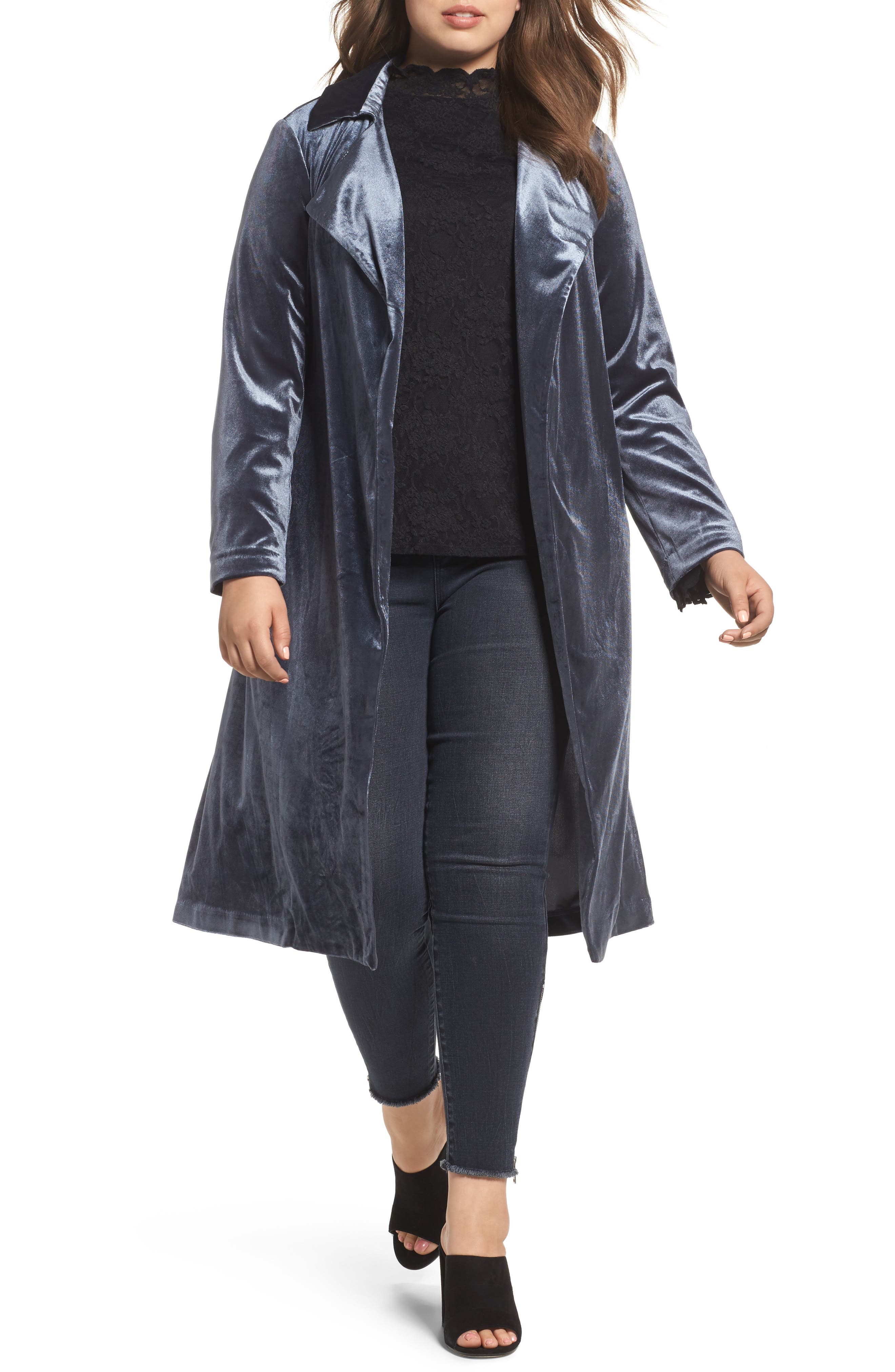 ELVI Blue Velvet Jacket (Plus Size)