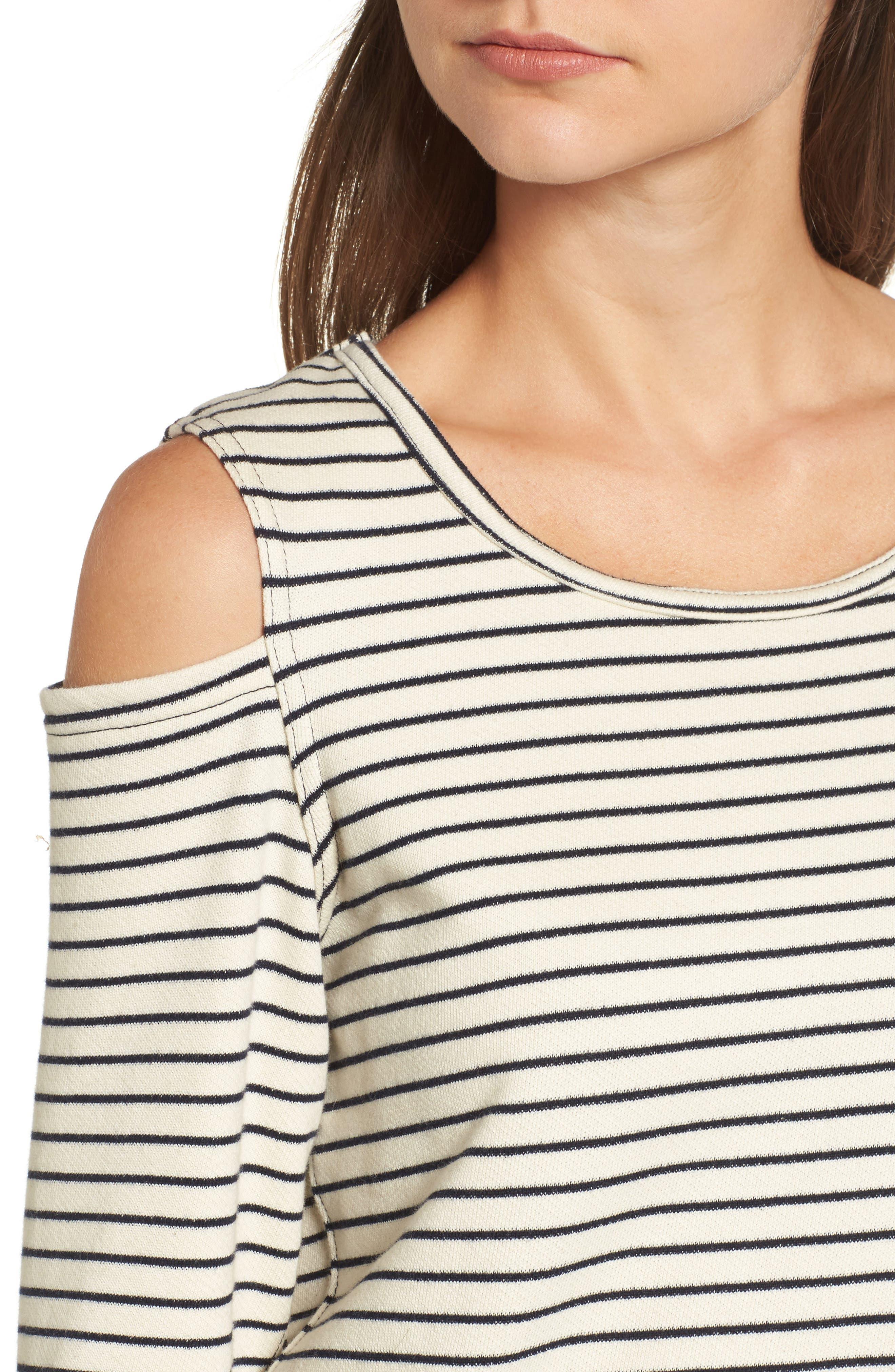 Wildair Cold Shoulder Sweatshirt,                             Alternate thumbnail 4, color,                             Ski Stripe