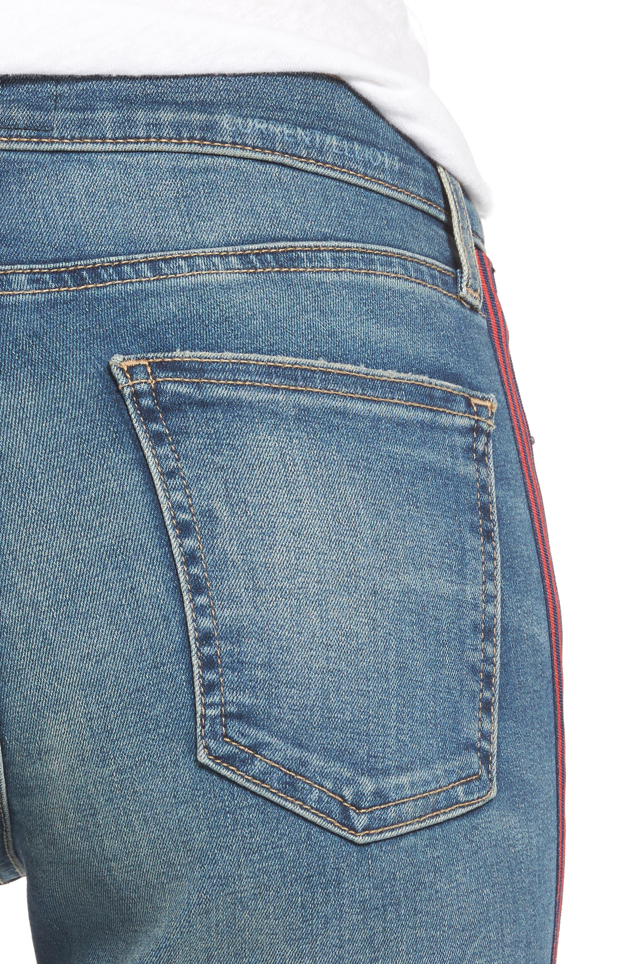 Alternate Image 4  - Current/Elliott The High Waist Stiletto Ankle Skinny Jeans (Powell/Applied Stripe)