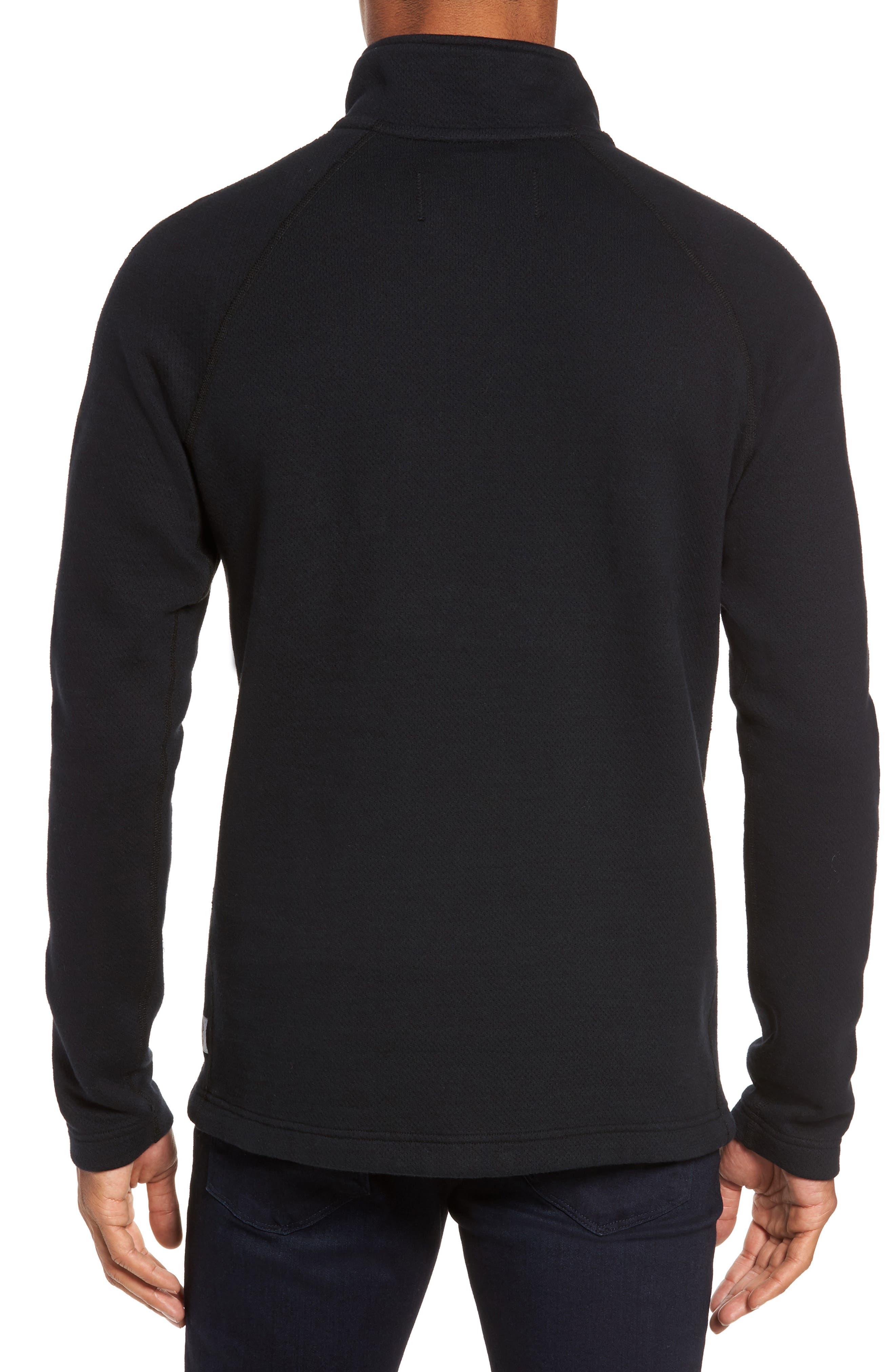 Mesh Half Zip Fleece Top,                             Alternate thumbnail 2, color,                             Black