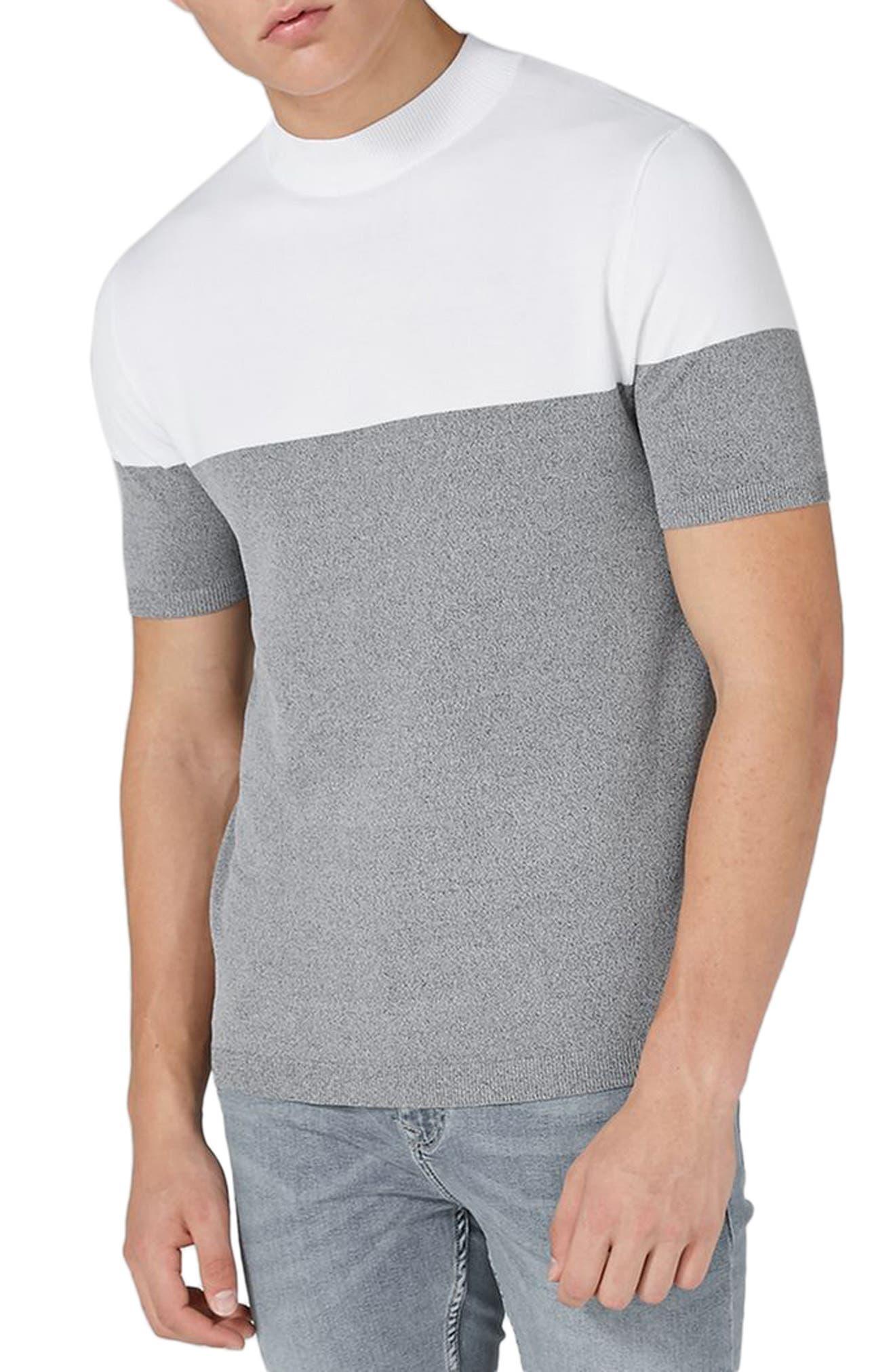 Main Image - Topman Colorblock Mock Neck Sweater