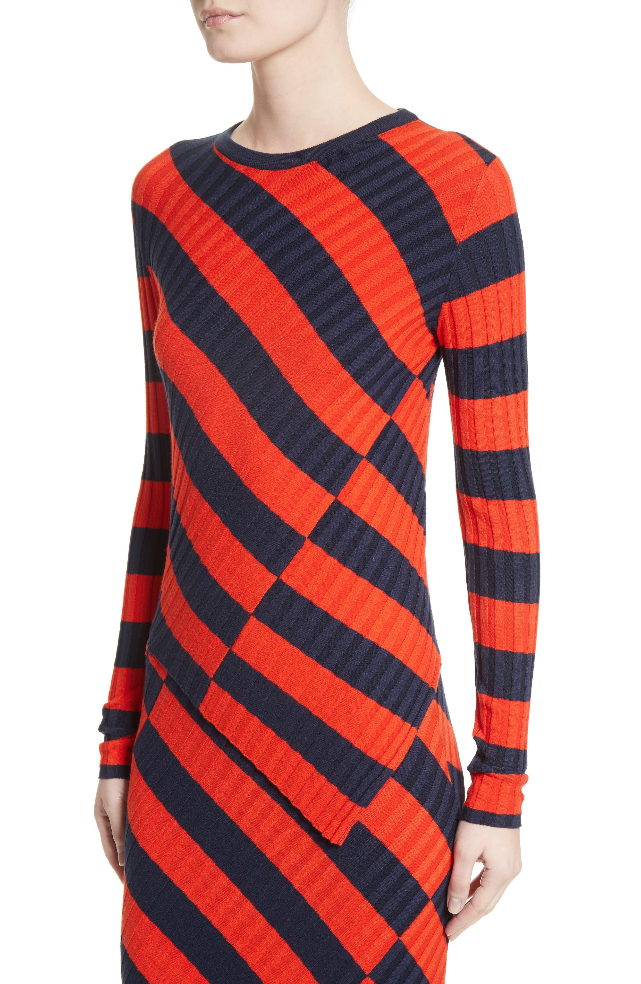 Asymmetrical Stripe Sweater,                             Alternate thumbnail 4, color,                             Persimmon