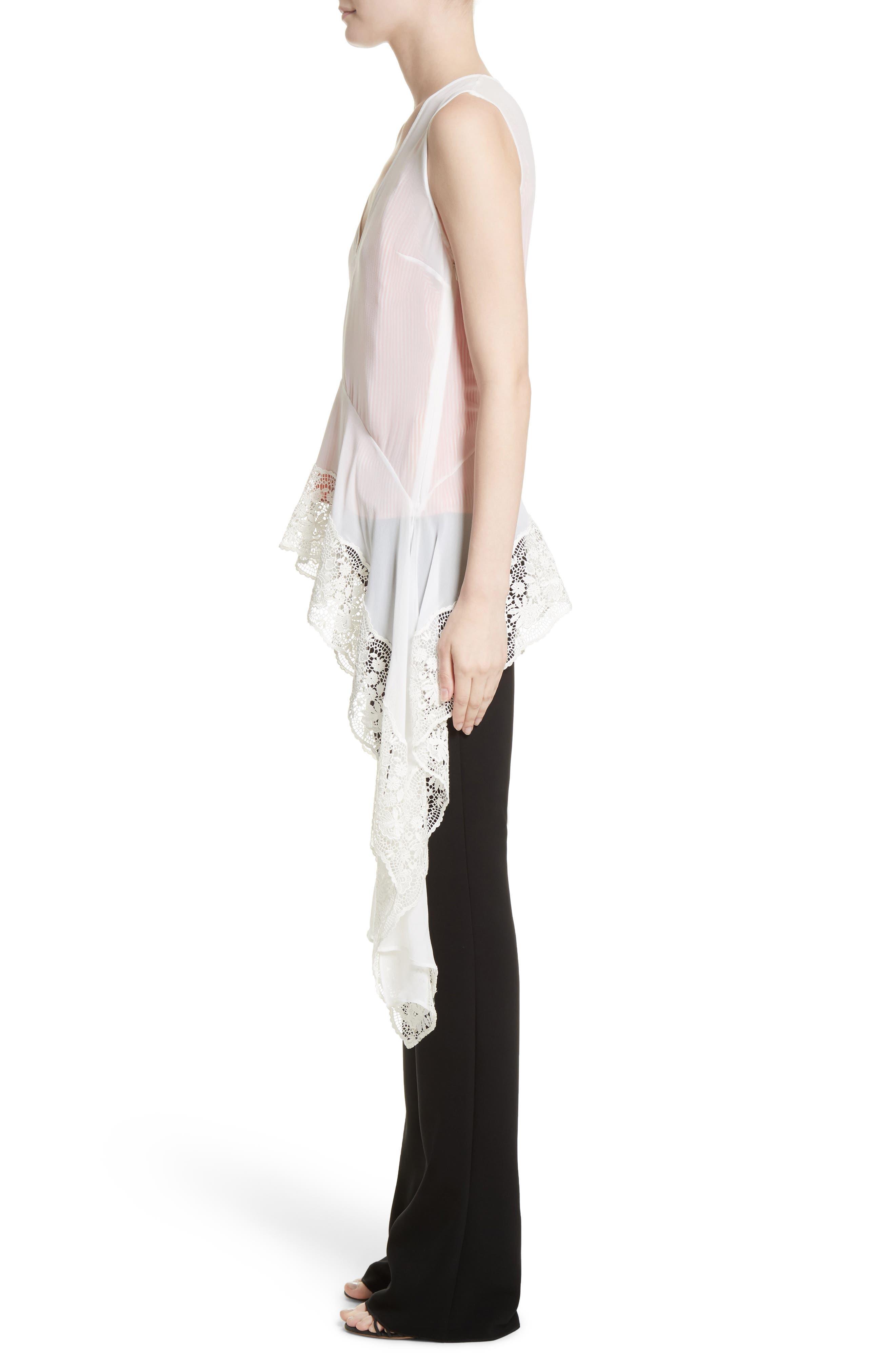 Lace Trim Silk Blouse,                             Alternate thumbnail 3, color,                             Natural White