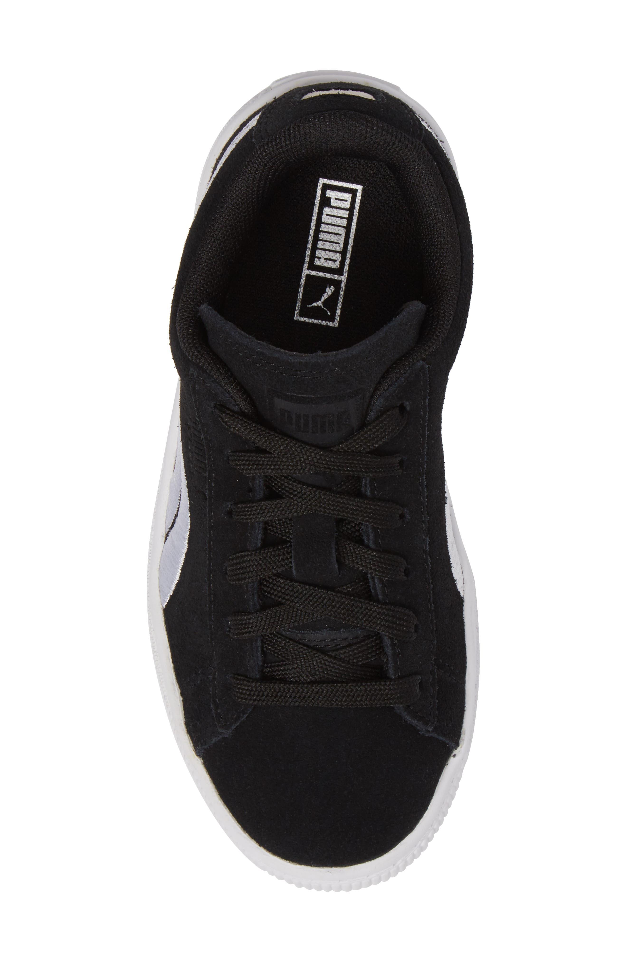 Suede Classic Badge Sneaker,                             Alternate thumbnail 5, color,                             Black
