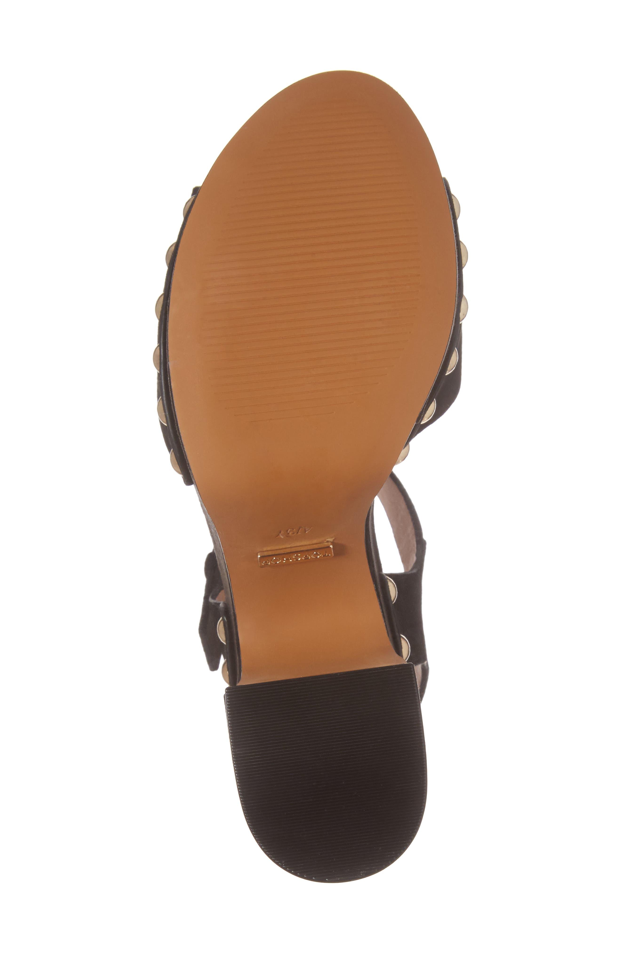 Lourdes Embroidered Platform Sandal,                             Alternate thumbnail 6, color,                             Solid Black