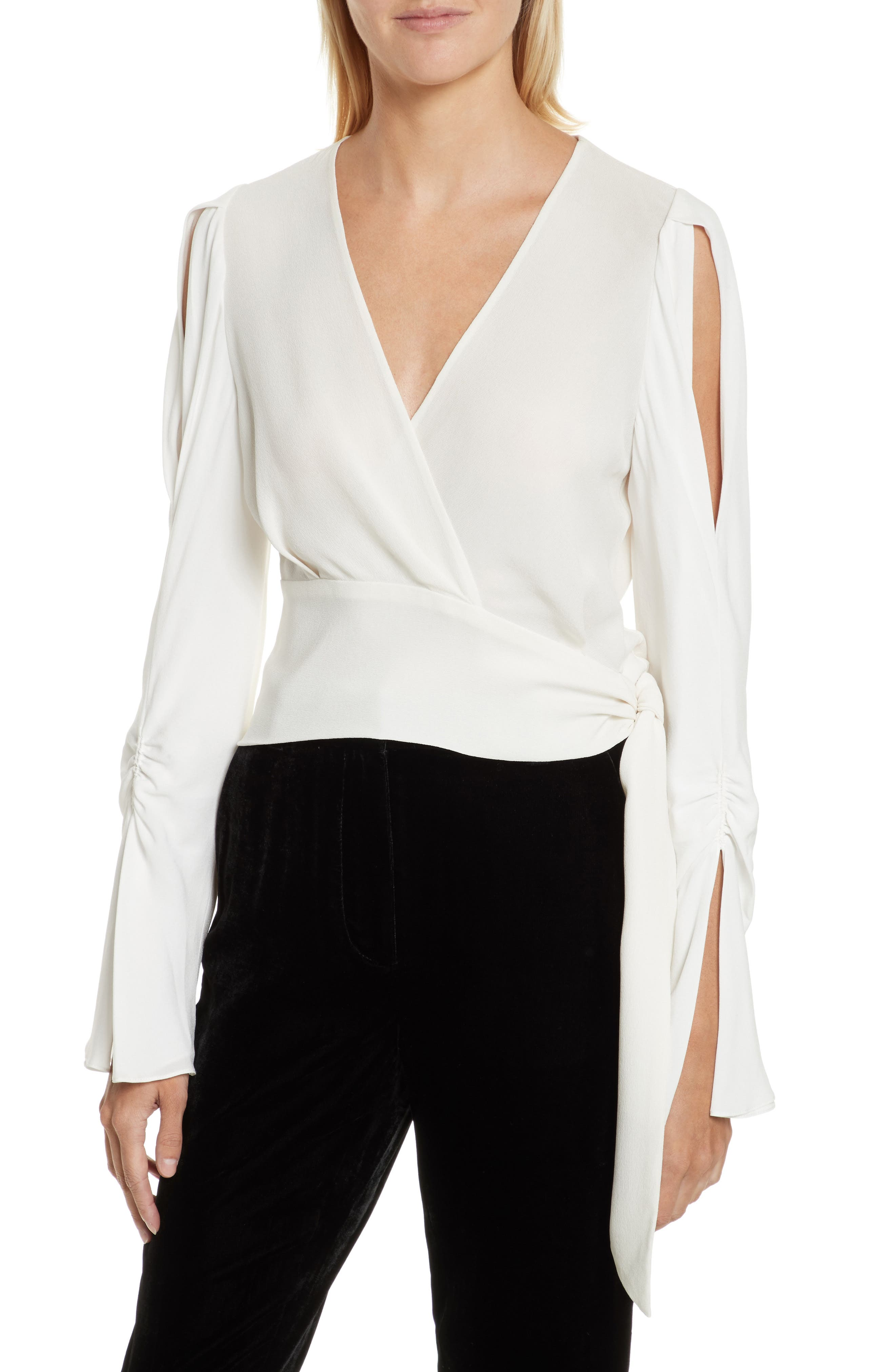 Slit Sleeve Silk Blouse,                             Main thumbnail 1, color,                             Antique White