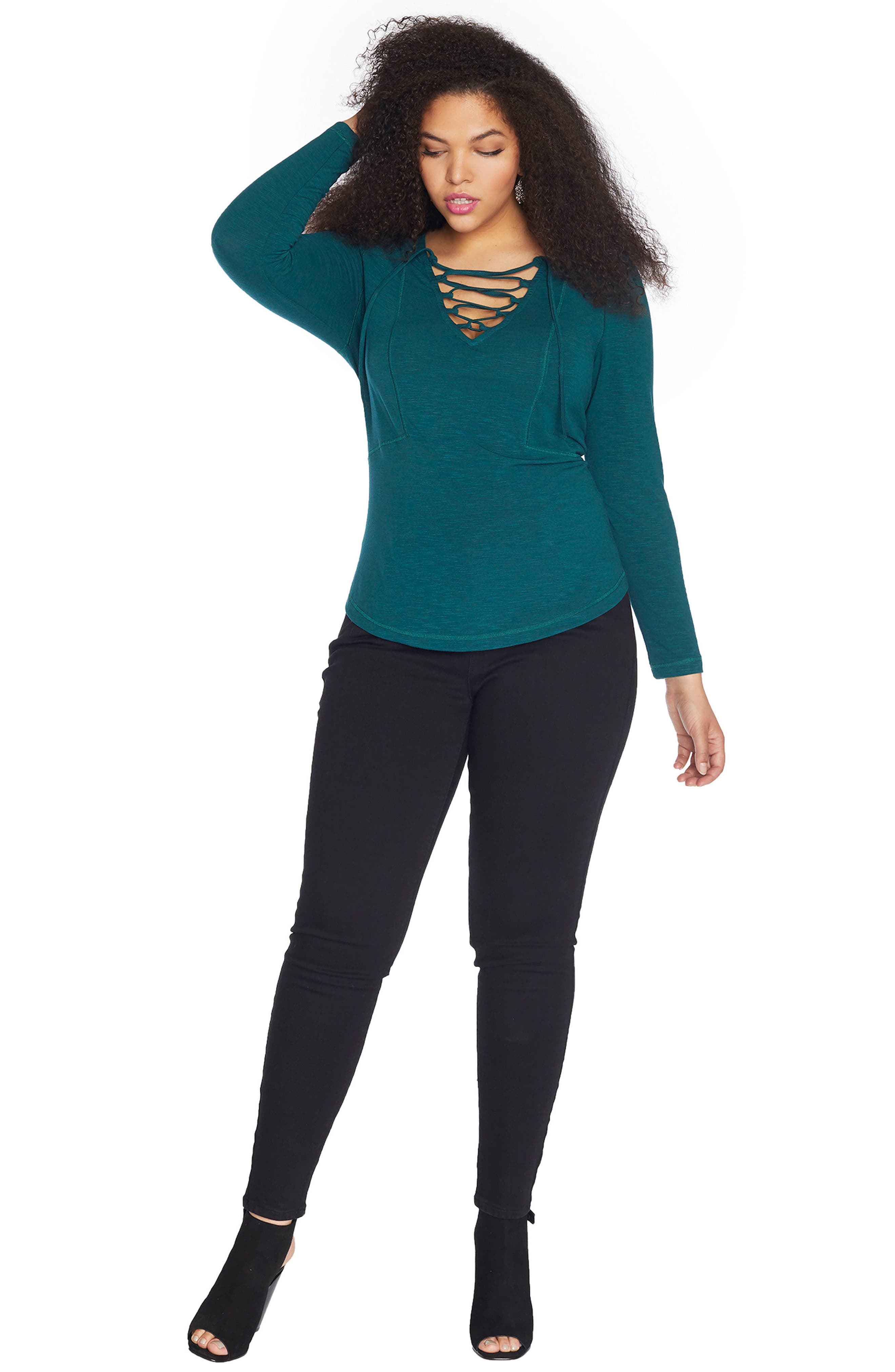 Lace-Up Slub Jersey Top,                             Alternate thumbnail 3, color,                             Sea Moss