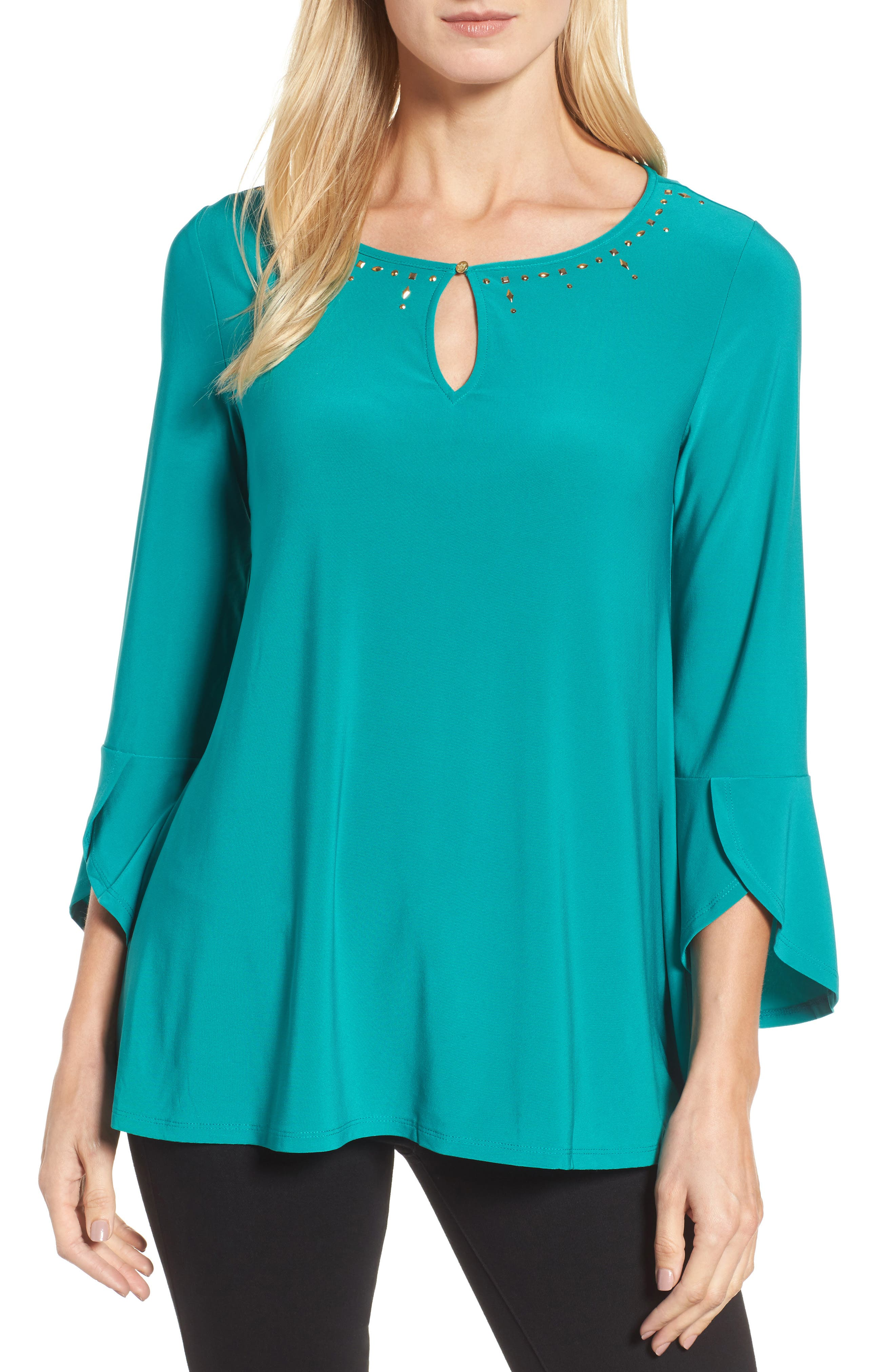 Bell Sleeve Keyhole Top,                             Main thumbnail 1, color,                             Radiant Teal