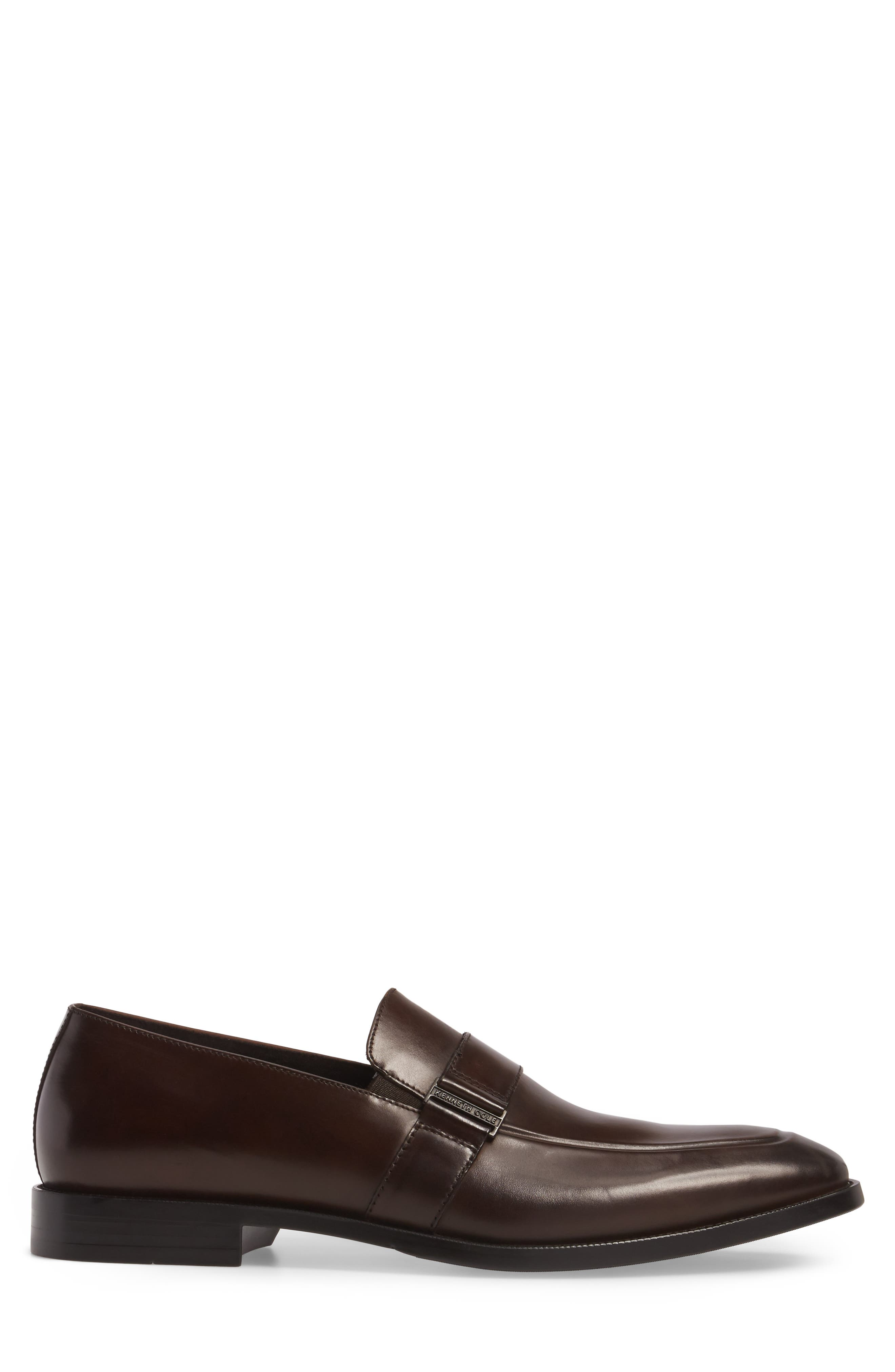 Apron Toe Loafer,                             Alternate thumbnail 3, color,                             Brown Leather