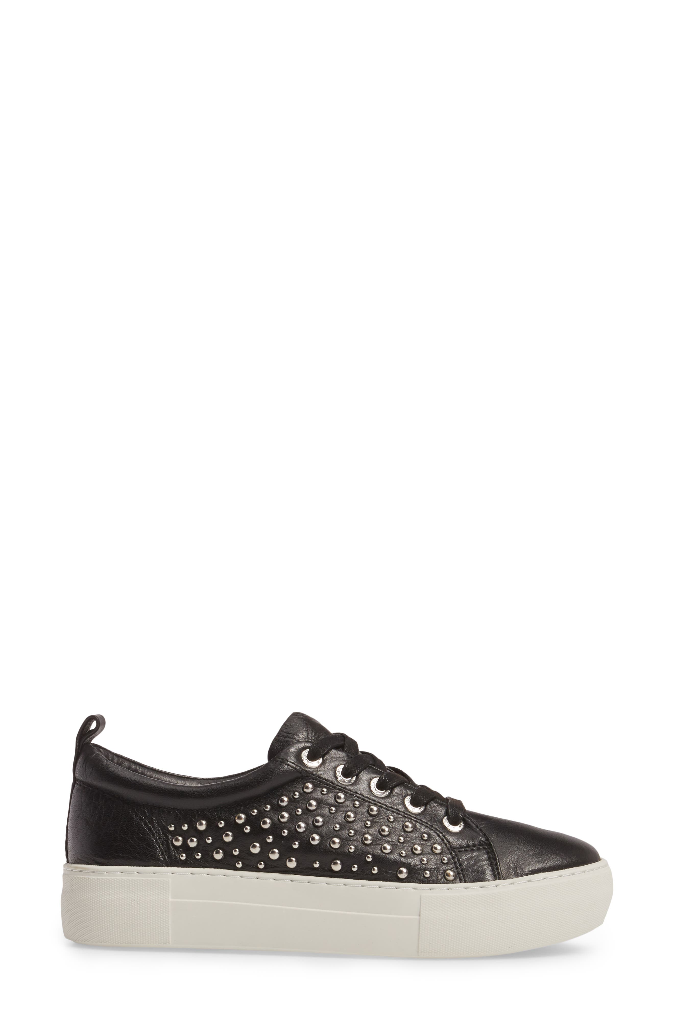 Ambrosia Studded Lace-Up Sneaker,                             Alternate thumbnail 3, color,                             Black Leather