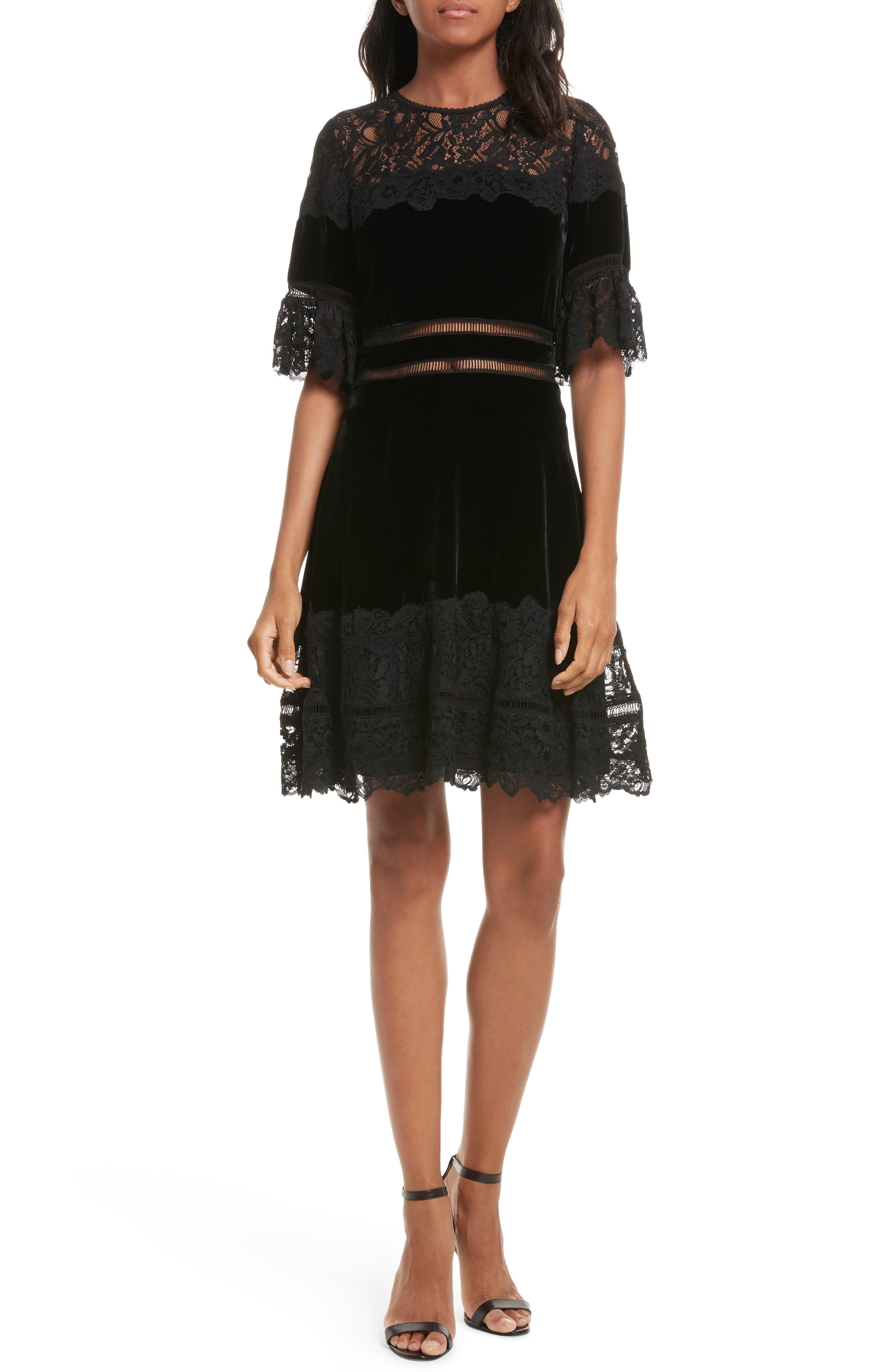 Rebecca Taylor Lace & Velvet Dress
