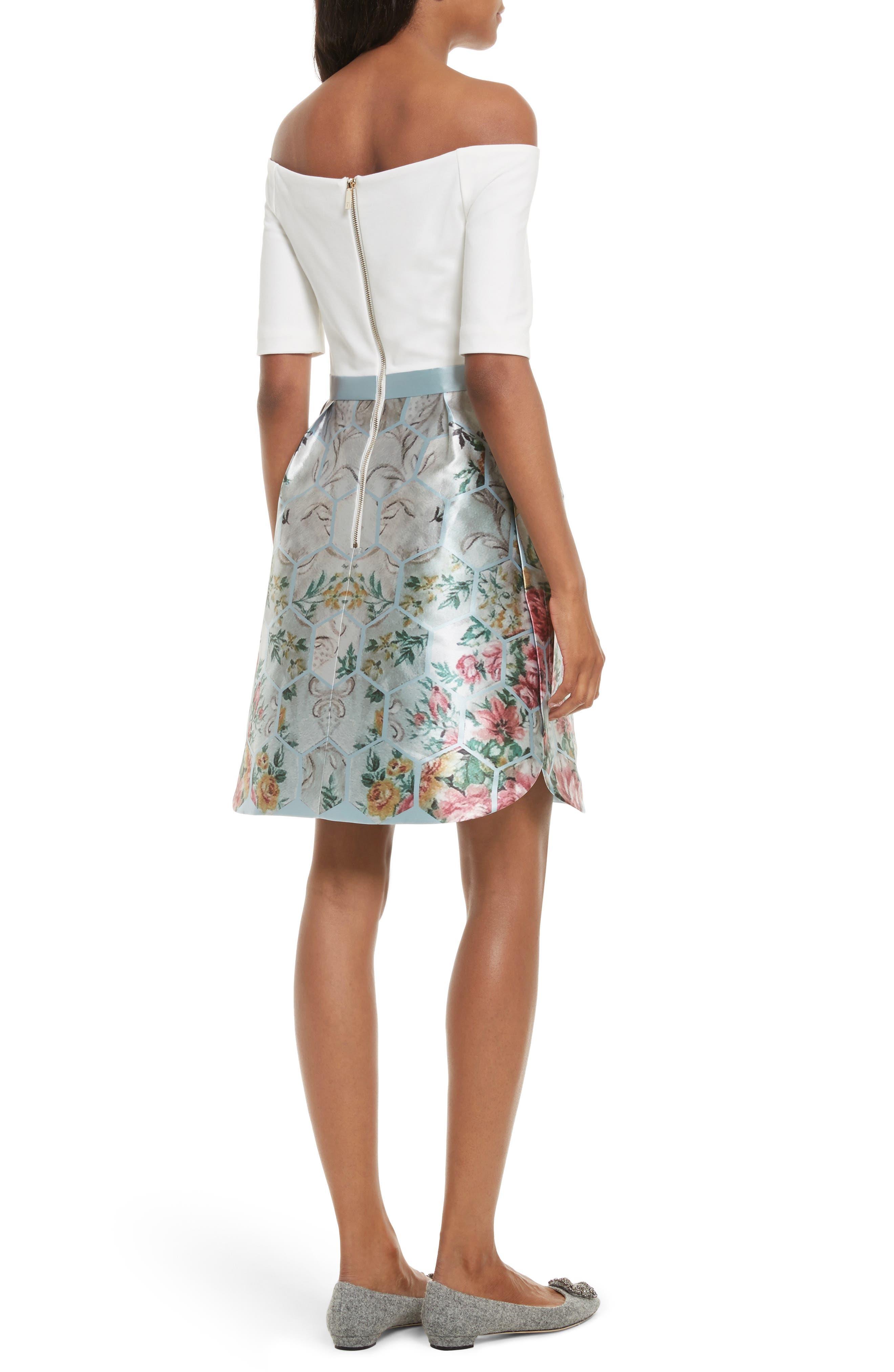 Dewrose Patchwork A-line Dress,                             Alternate thumbnail 2, color,                             Pale Blue