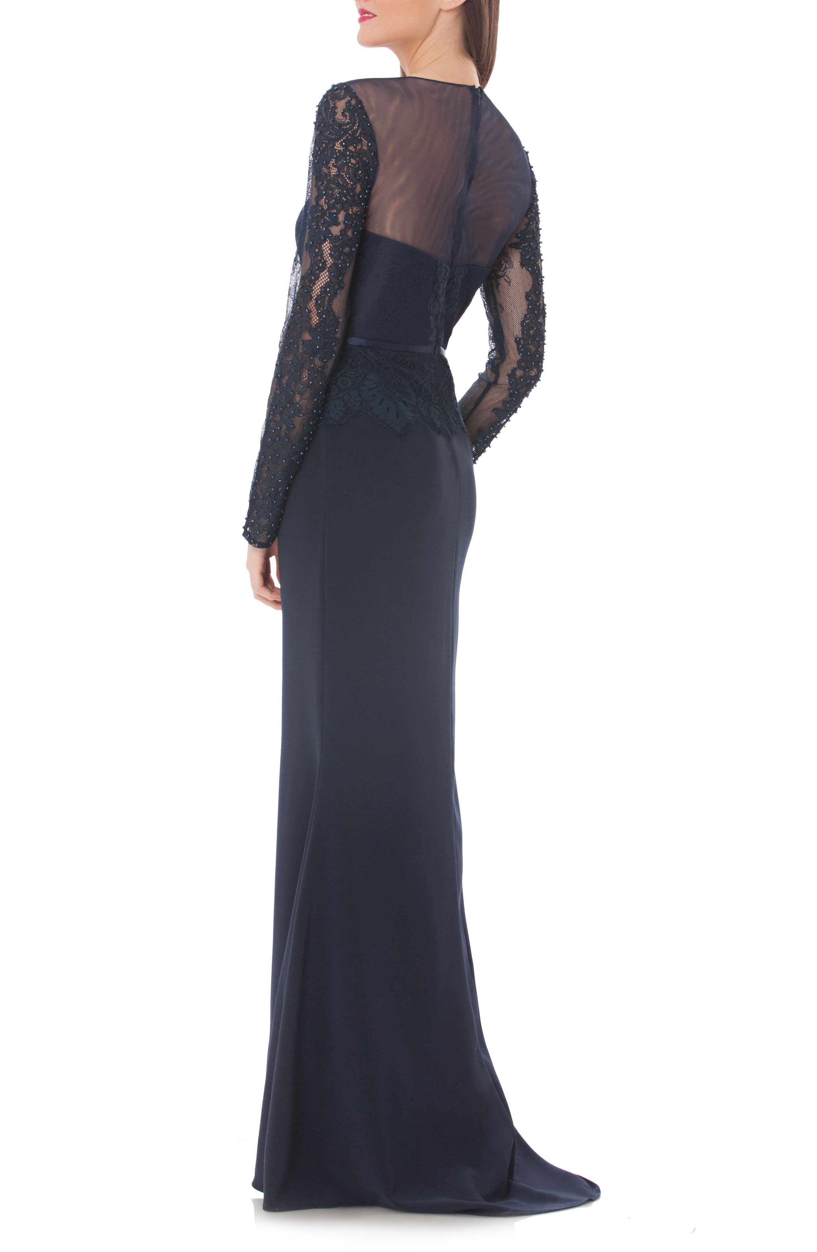 Embellished Crepe Mermaid Gown,                             Alternate thumbnail 2, color,                             Navy