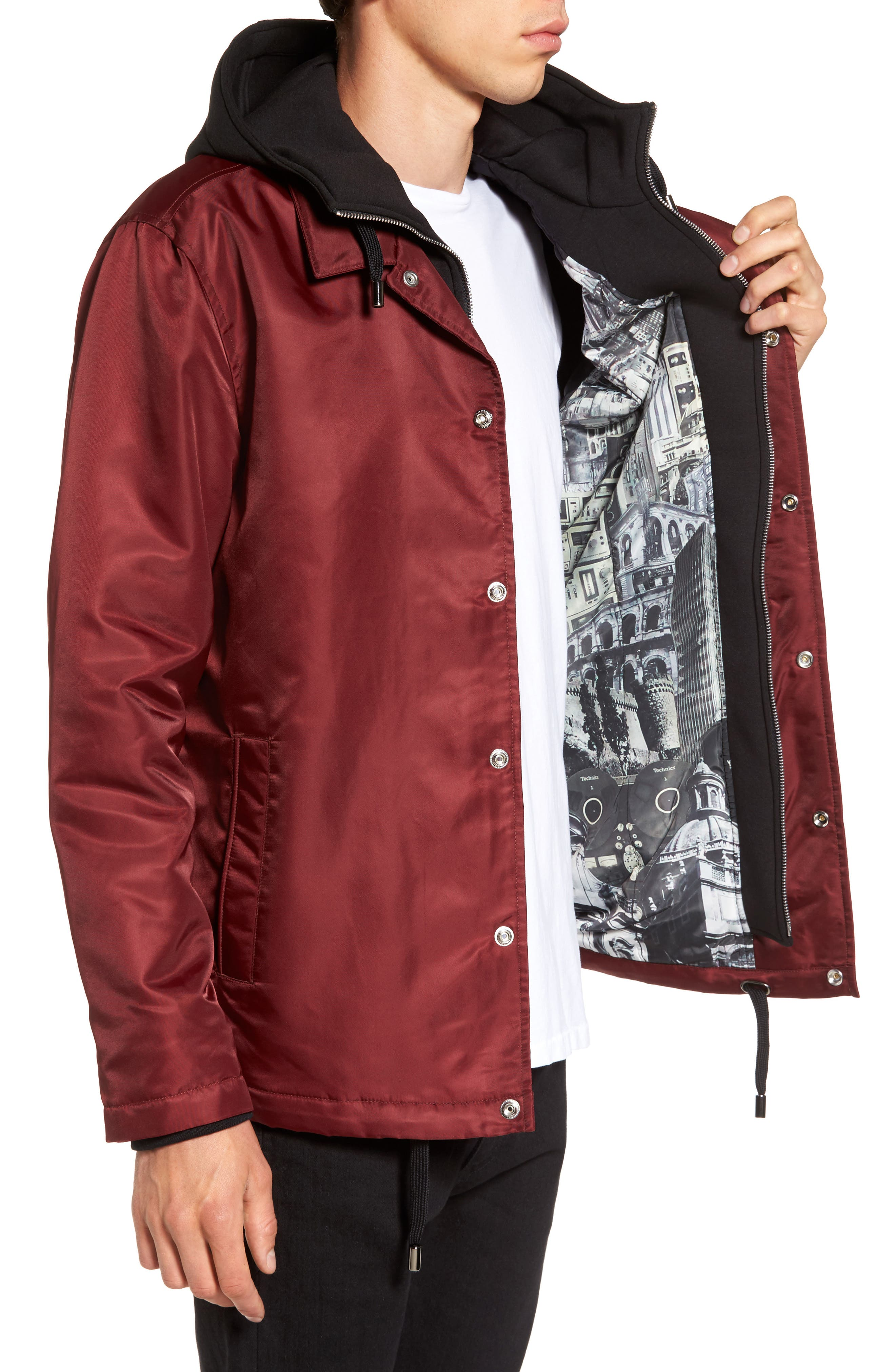 Yorkshire Hooded Coach's Jacket,                             Alternate thumbnail 3, color,                             Burgundy
