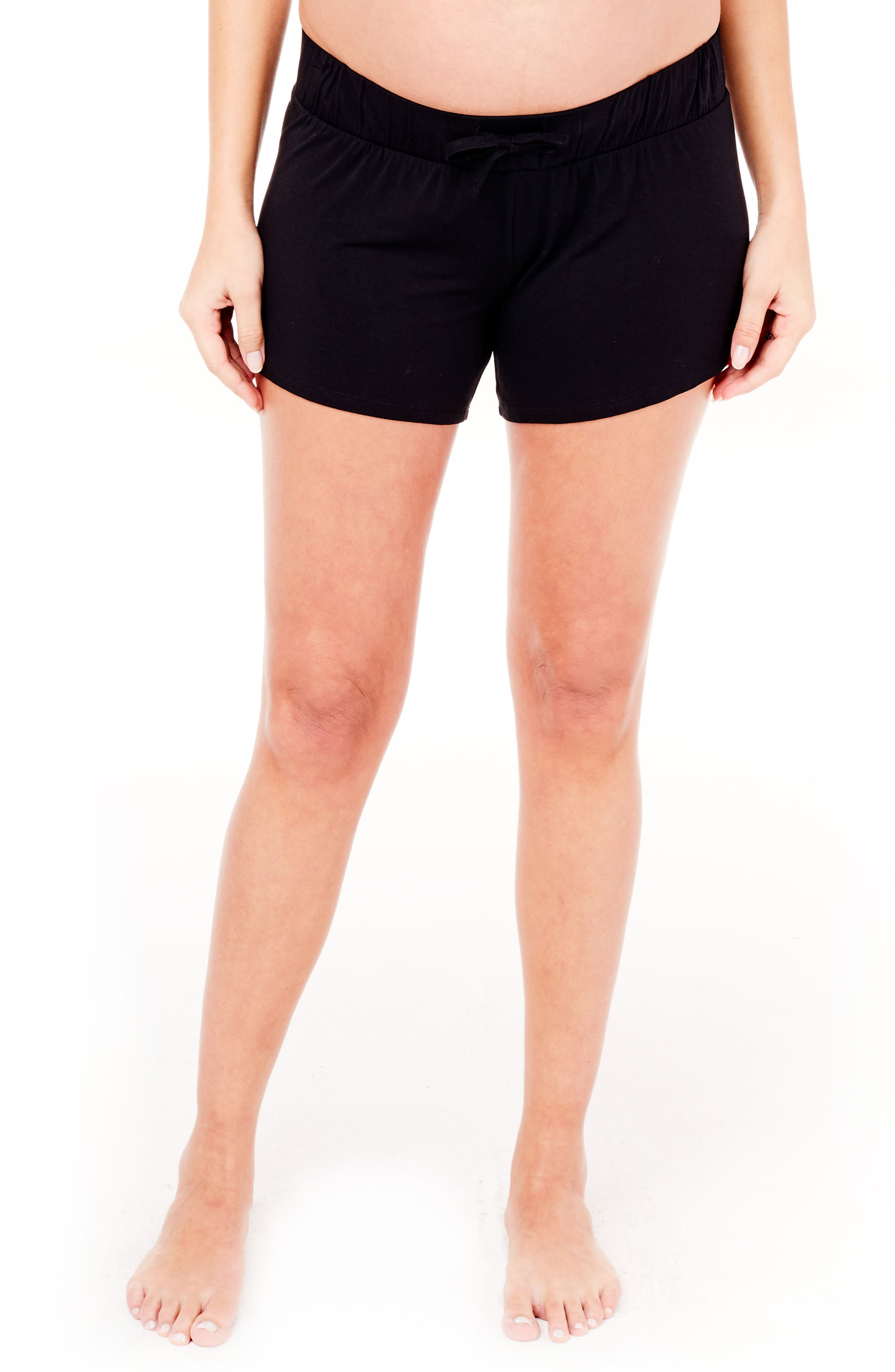 Maternity Lounge Shorts,                         Main,                         color, Jet Black