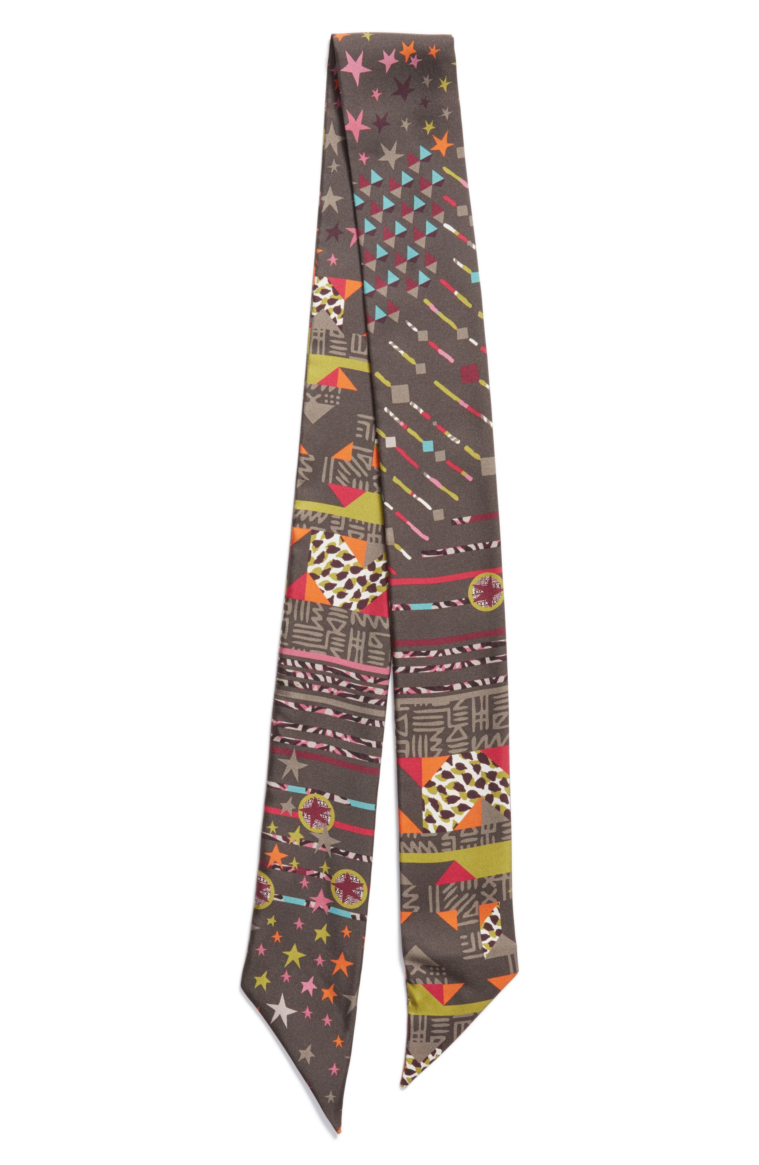 Salvatore Ferragamo Geometries Silk Skinny Scarf