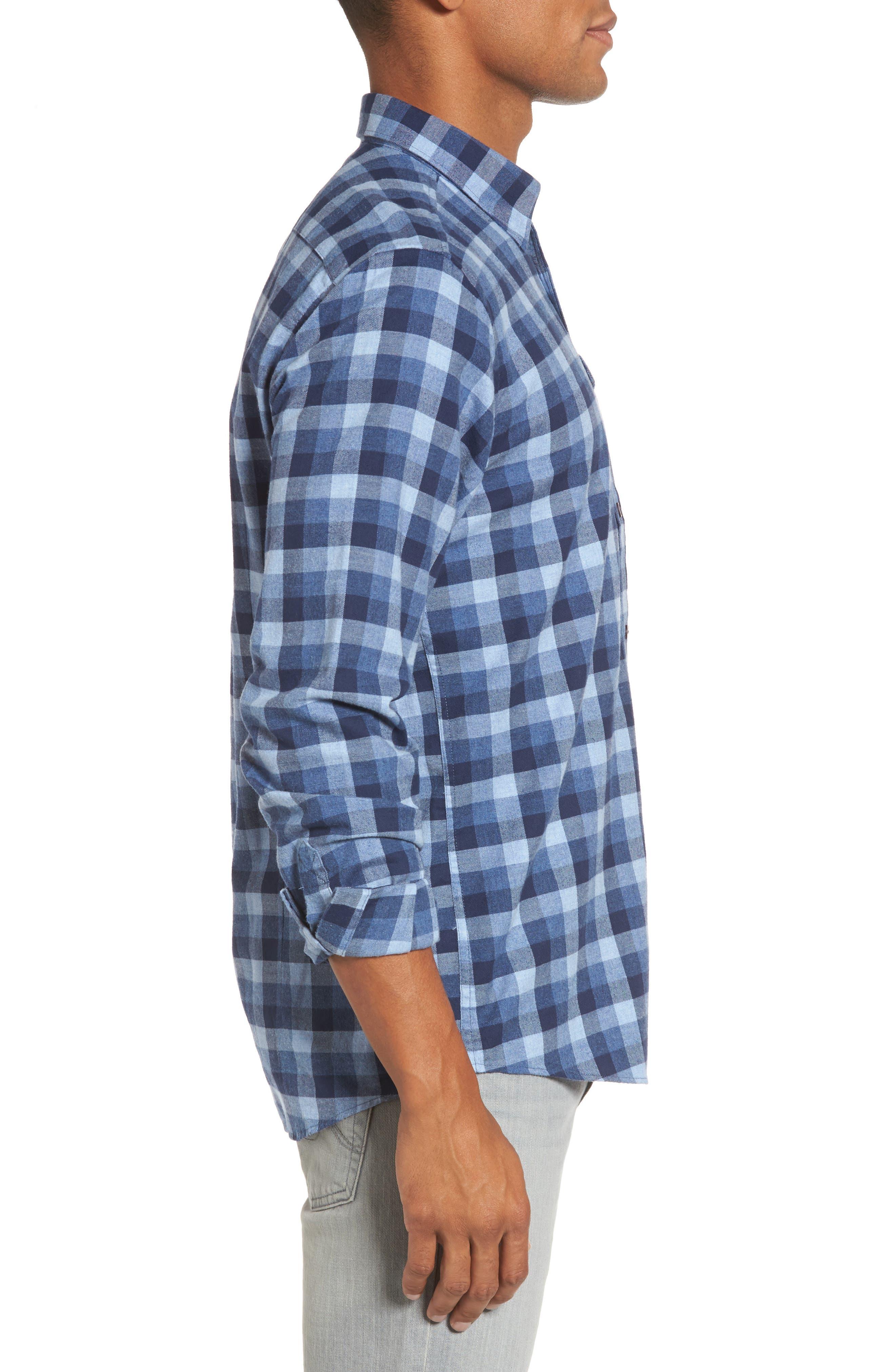 Grill Regular Fit Check Sport Shirt,                             Alternate thumbnail 3, color,                             Chambray