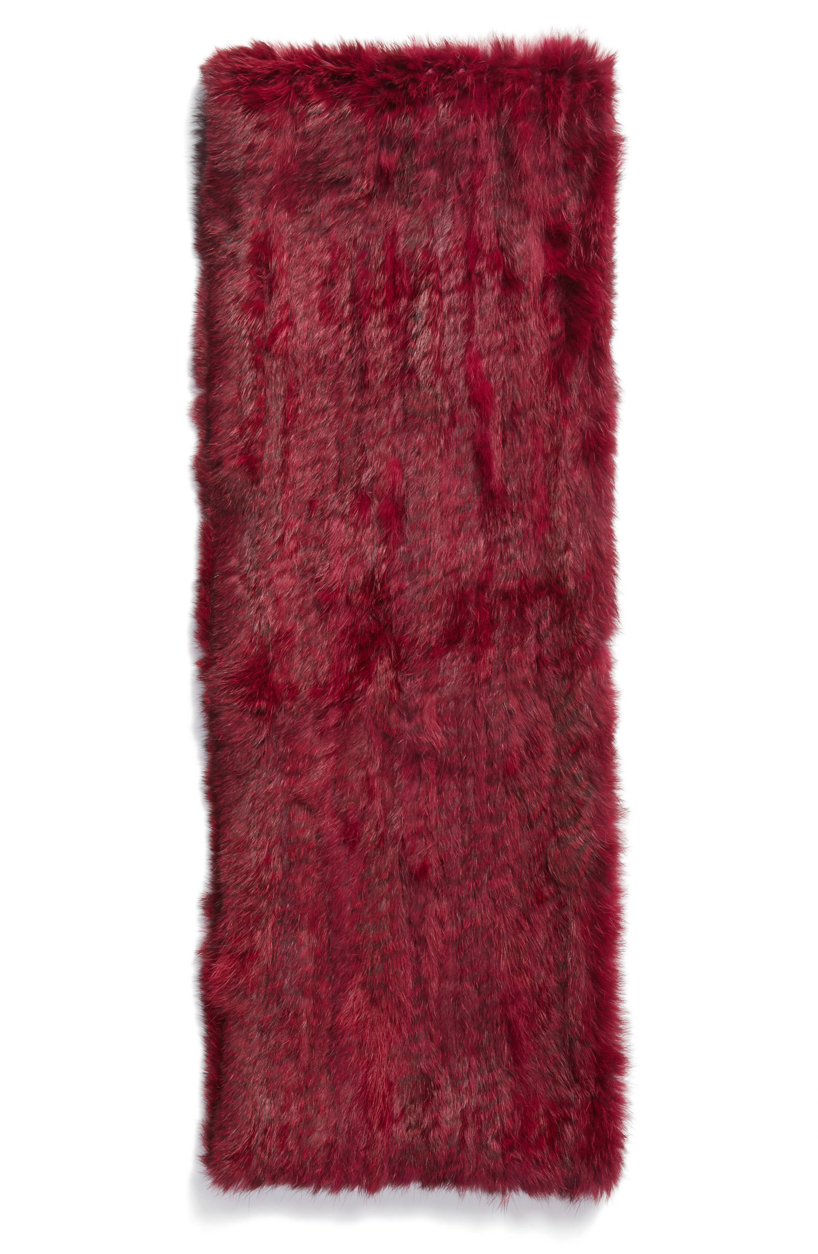 Overdyed Genuine Rabbit Fur Infinity Scarf,                             Alternate thumbnail 2, color,                             Ruby
